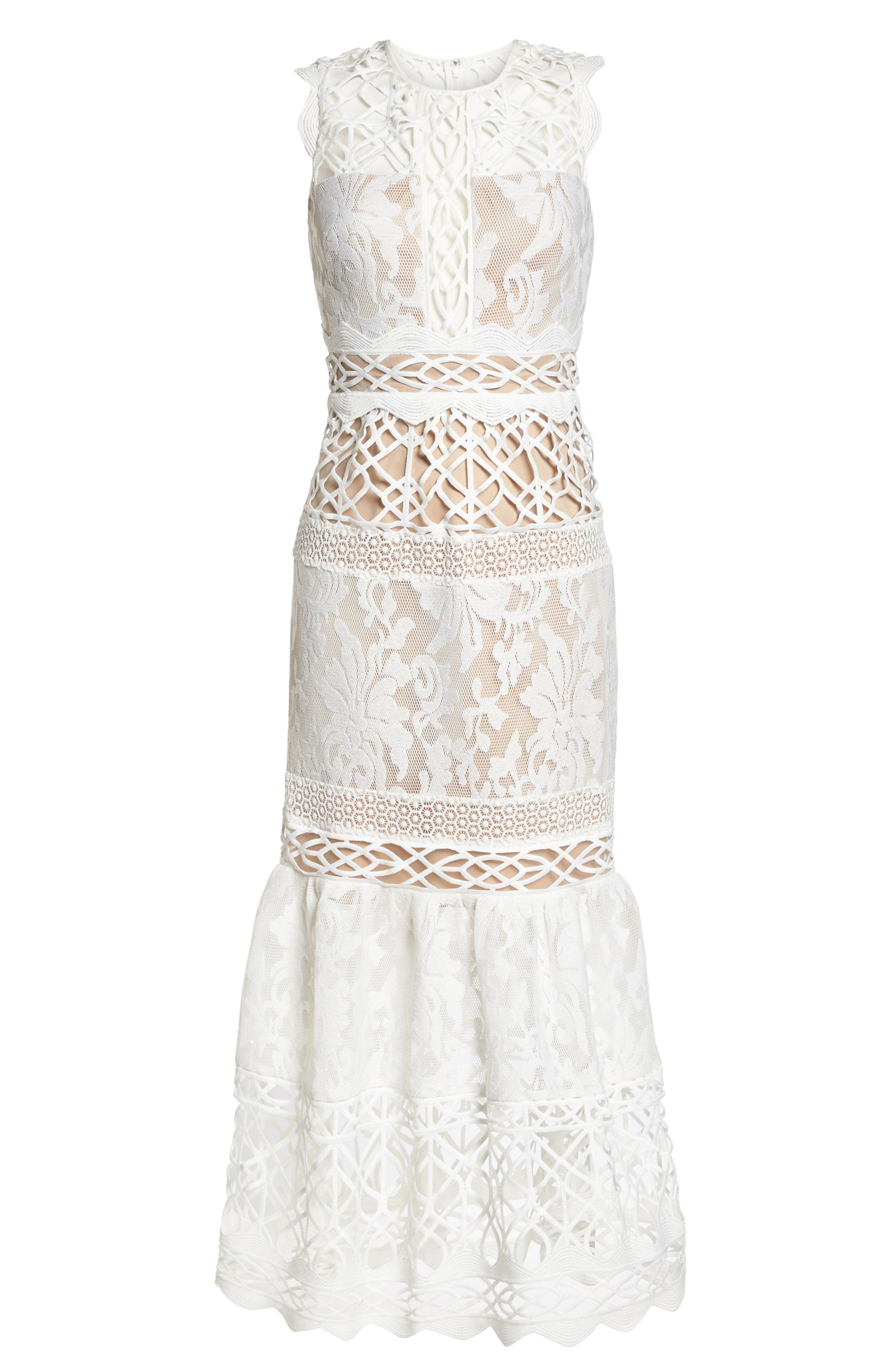 Mixed Lace Dress,                             Alternate thumbnail 6, color,                             Ivory Nude