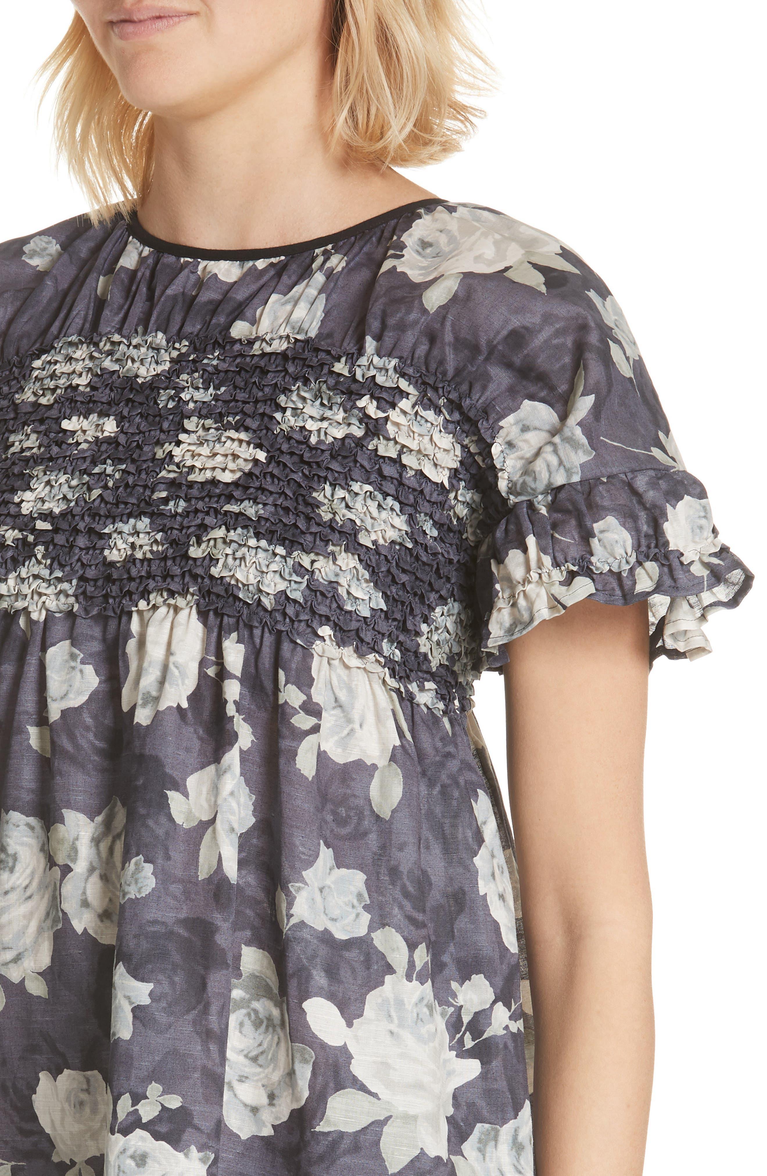 Rose Print Dress,                             Alternate thumbnail 4, color,                             Charcoal X Black