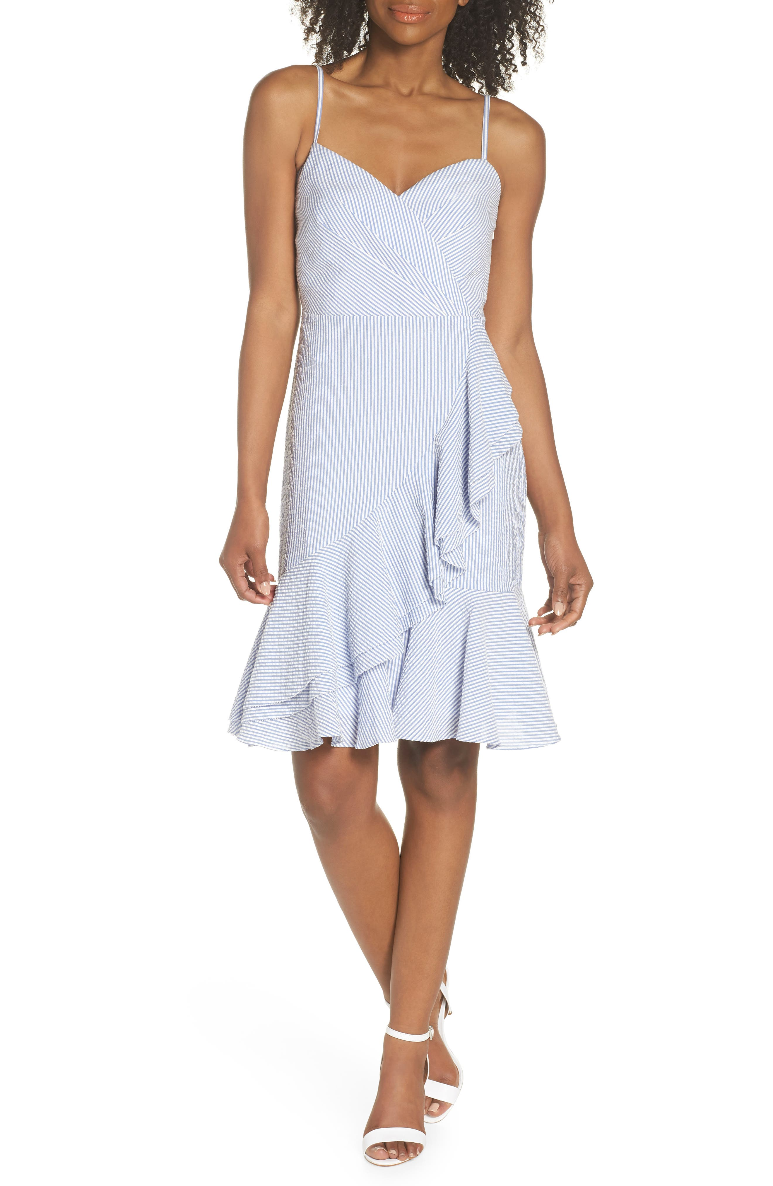 J.Crew Spaghetti Strap Ruffle Dress,                             Main thumbnail 1, color,                             Blue White