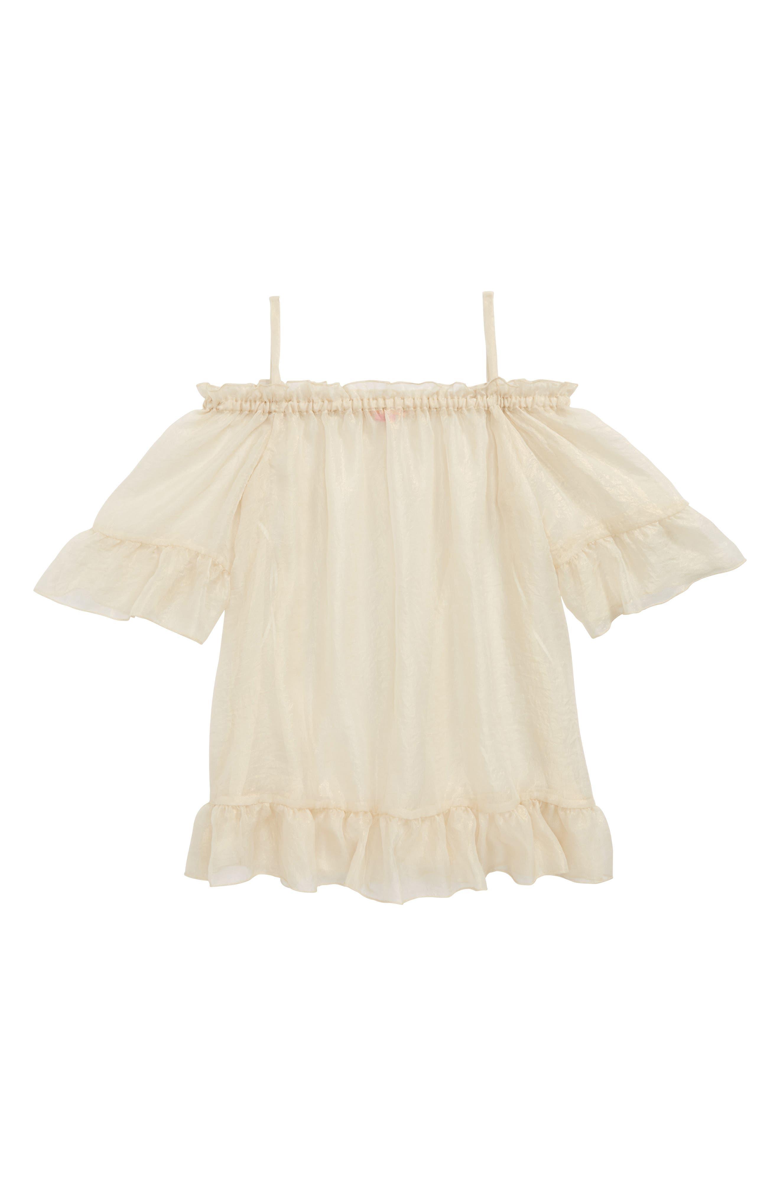 Chiffon Cover-Up Dress,                             Main thumbnail 1, color,                             Gold