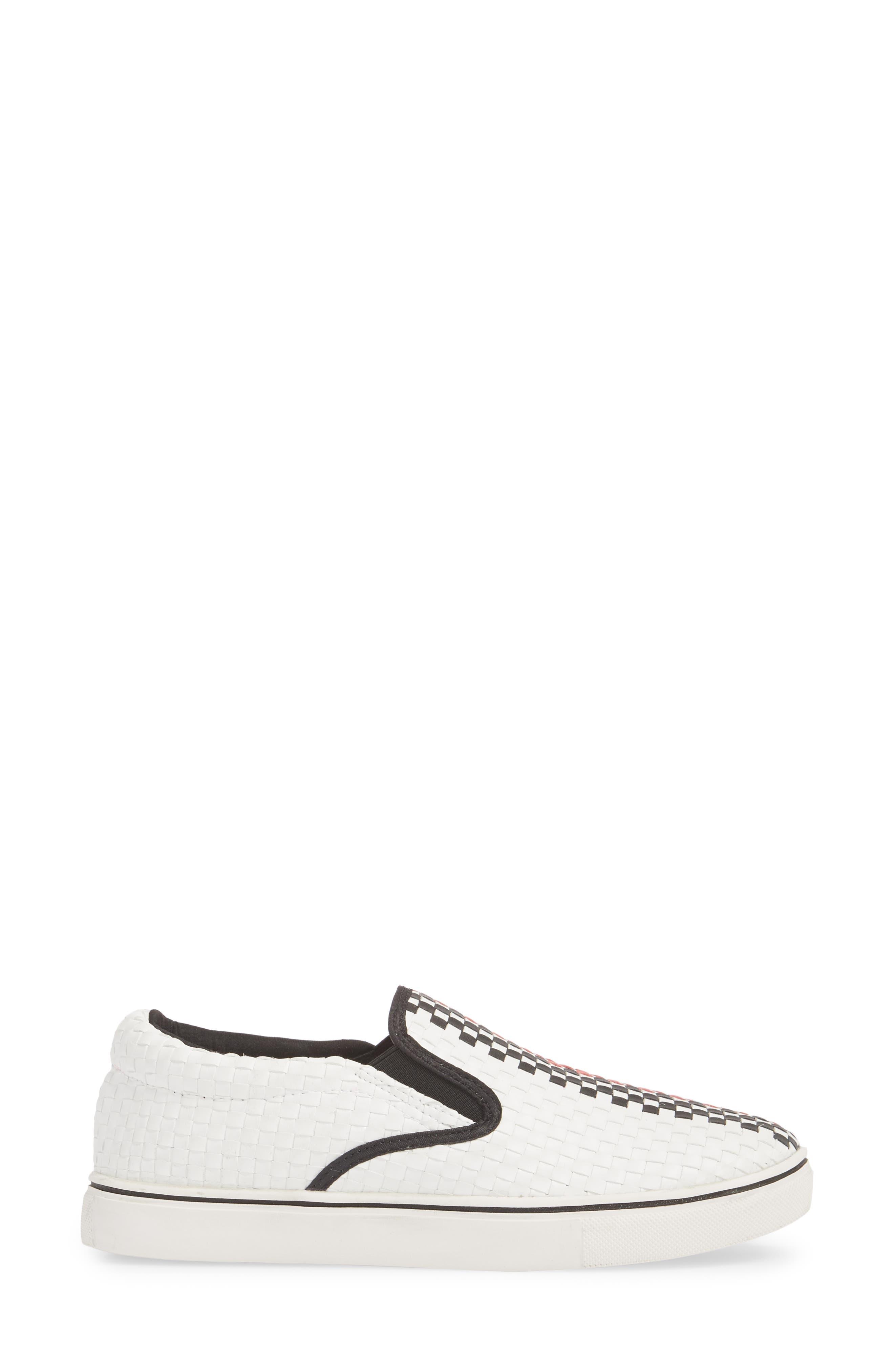 Checkerboard Slip-On Sneaker,                             Alternate thumbnail 3, color,                             White/ Red/ Black