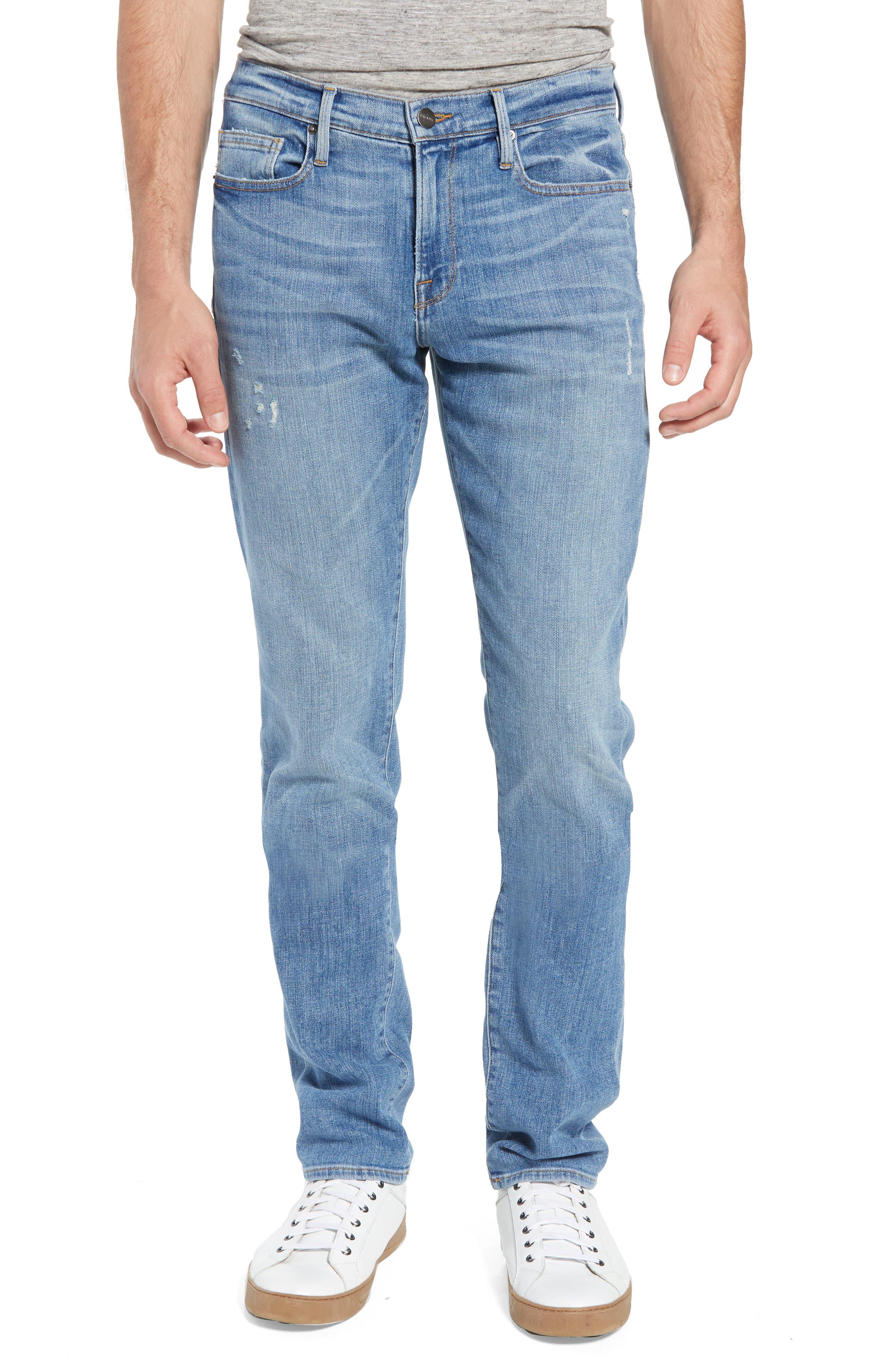 L'Homme Slim Straight Fit Jeans,                             Main thumbnail 1, color,                             Russel Cave