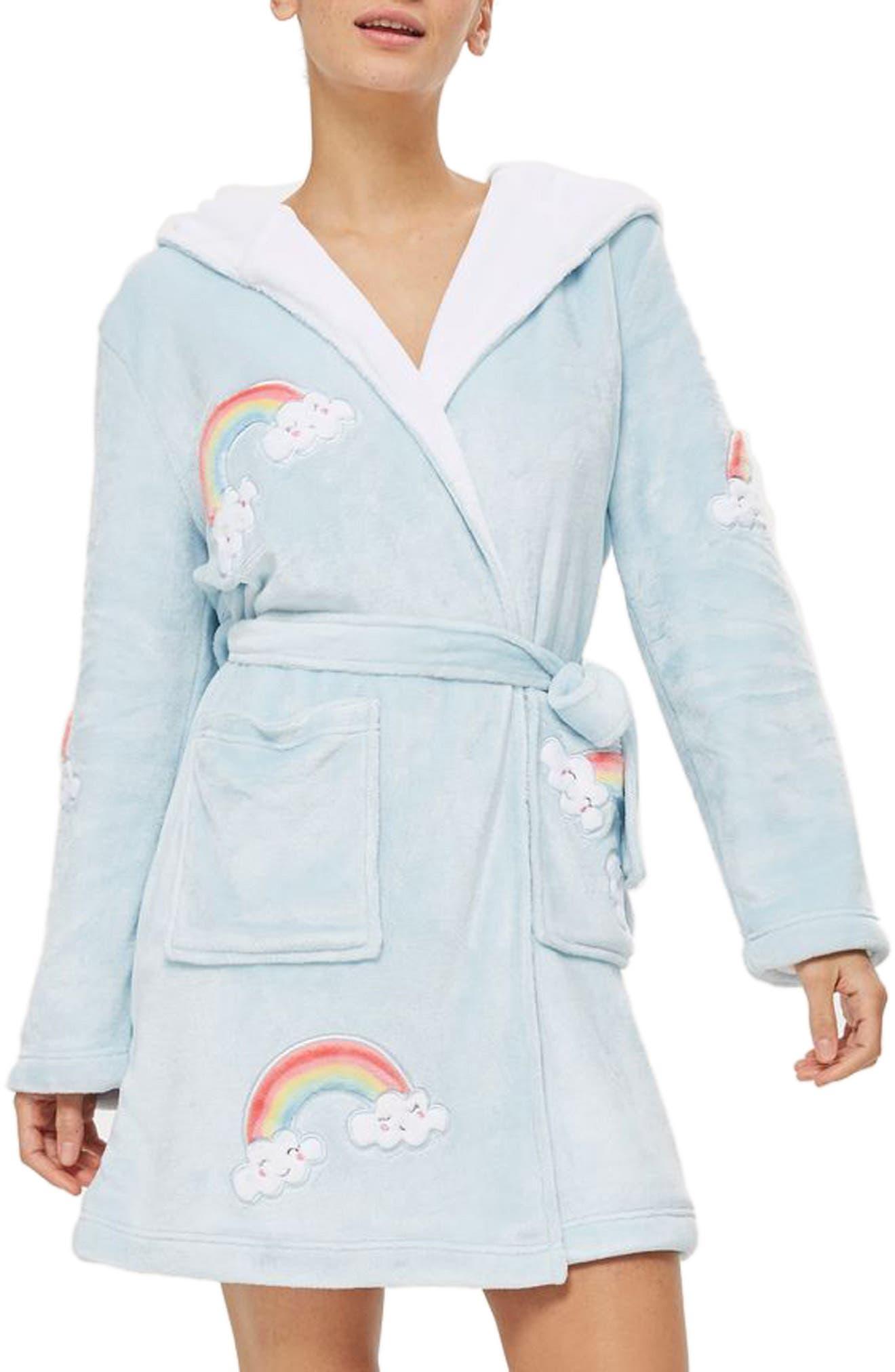 Rainbow Dressing Robe,                         Main,                         color, Light Blue