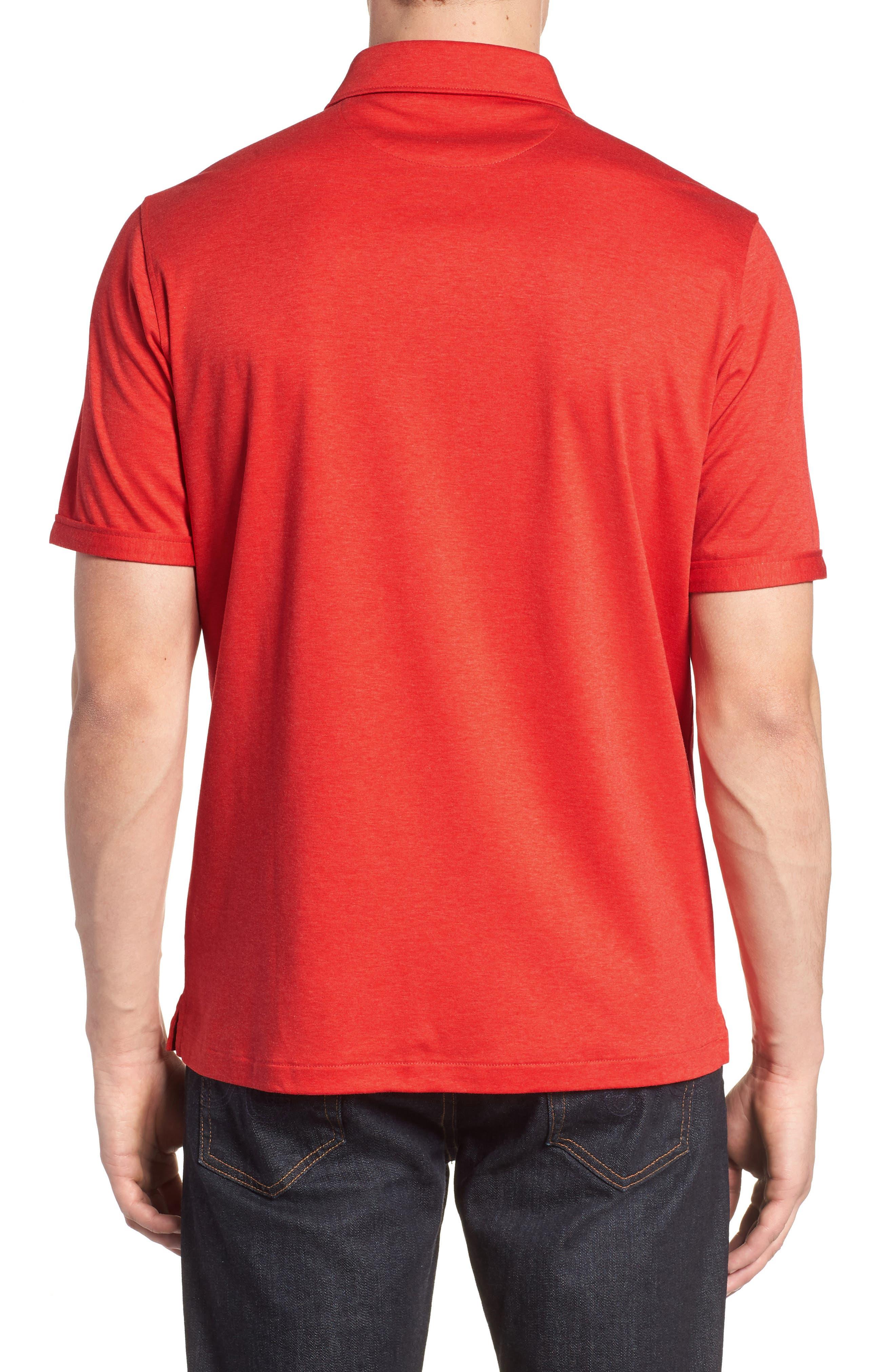 Trim Fit Heather Knit Sport Shirt,                             Alternate thumbnail 2, color,                             Cherry
