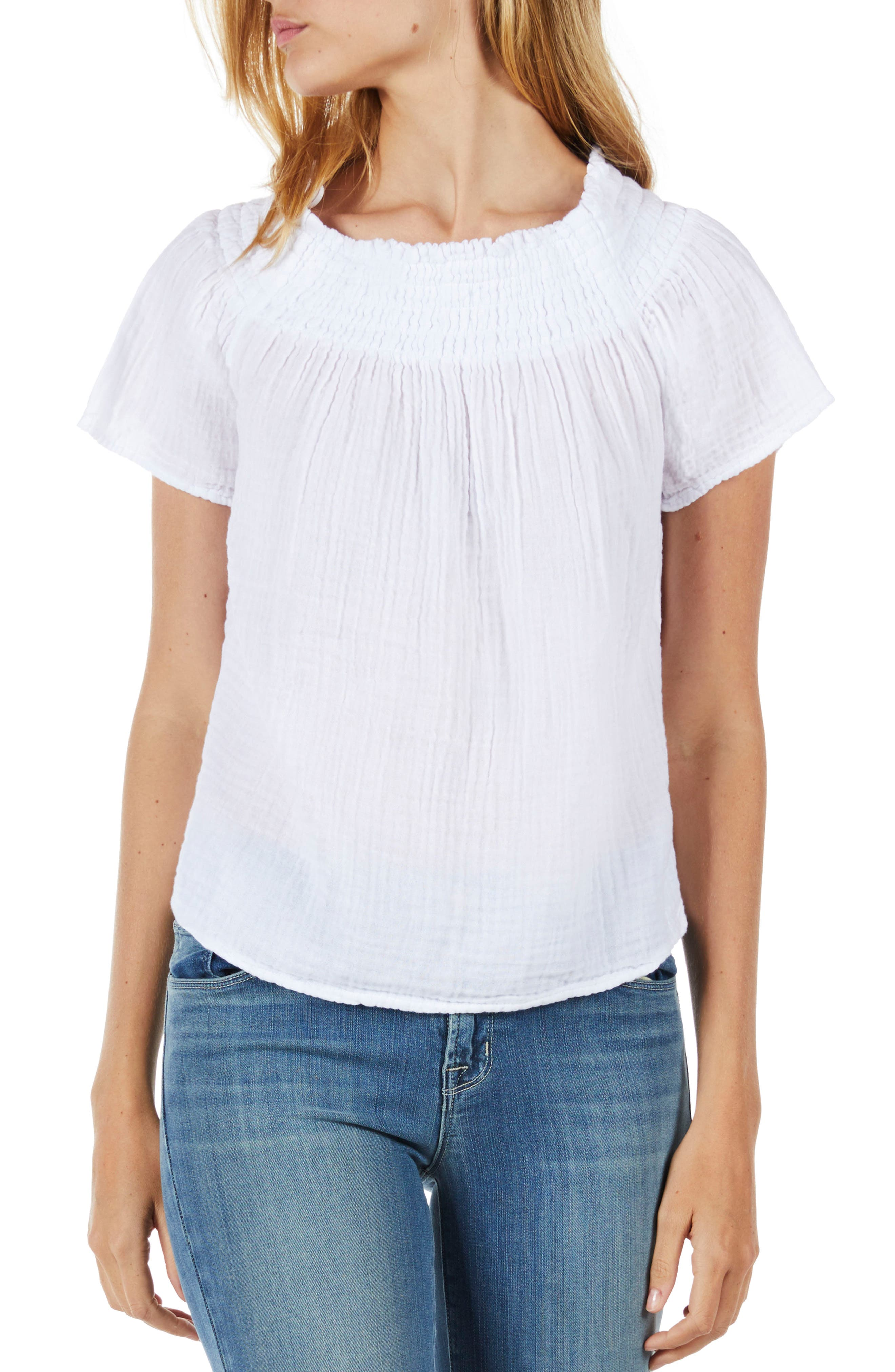 Smocked Cotton Off the Shoulder Top,                             Main thumbnail 1, color,                             White