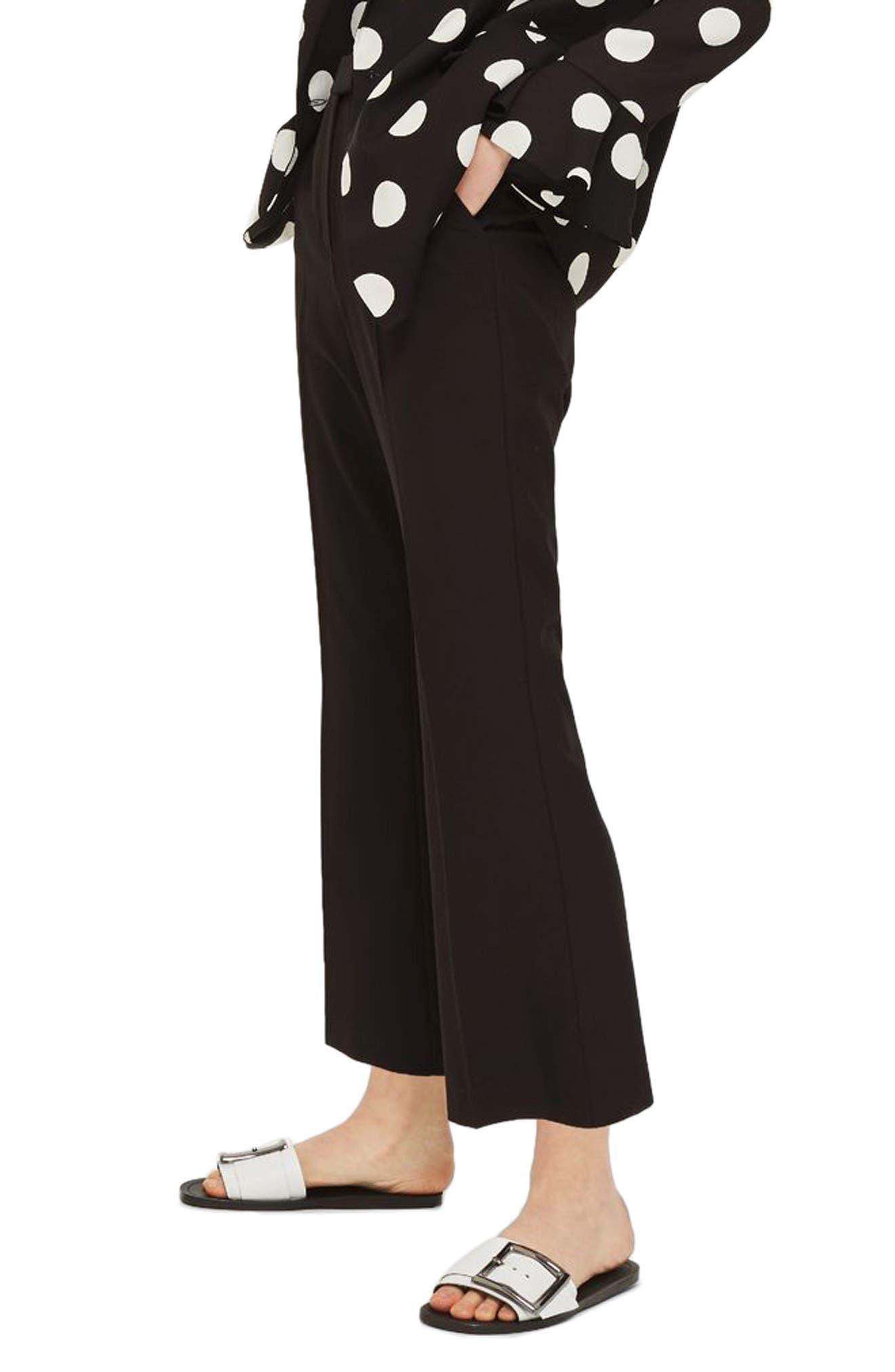 Slim Kick Flare Trousers,                             Alternate thumbnail 2, color,                             Black