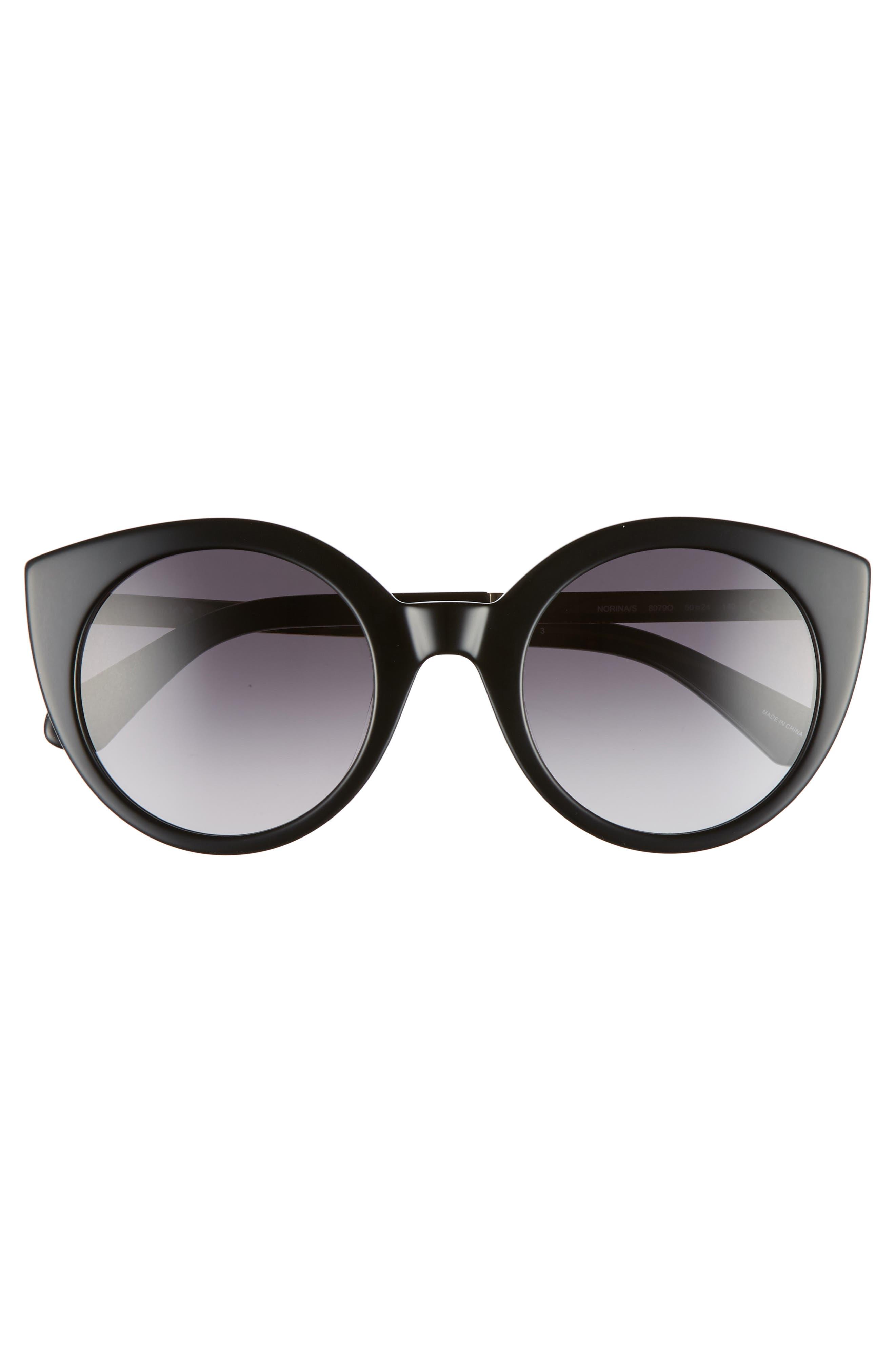 norinas 50mm cat eye sunglasses,                             Alternate thumbnail 3, color,                             Black