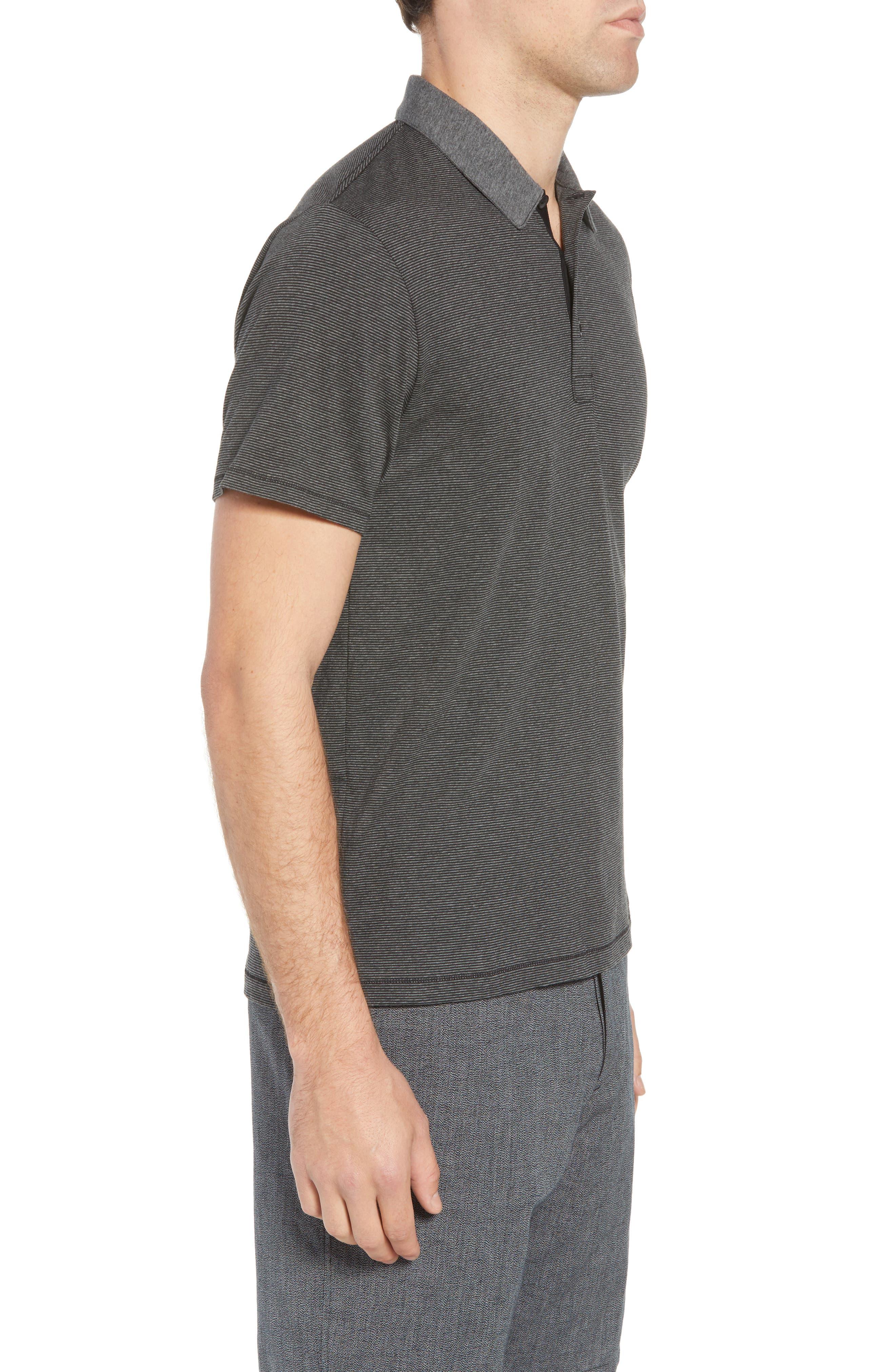 Stripe Cotton Polo Shirt,                             Alternate thumbnail 3, color,                             Charcoal/ Black
