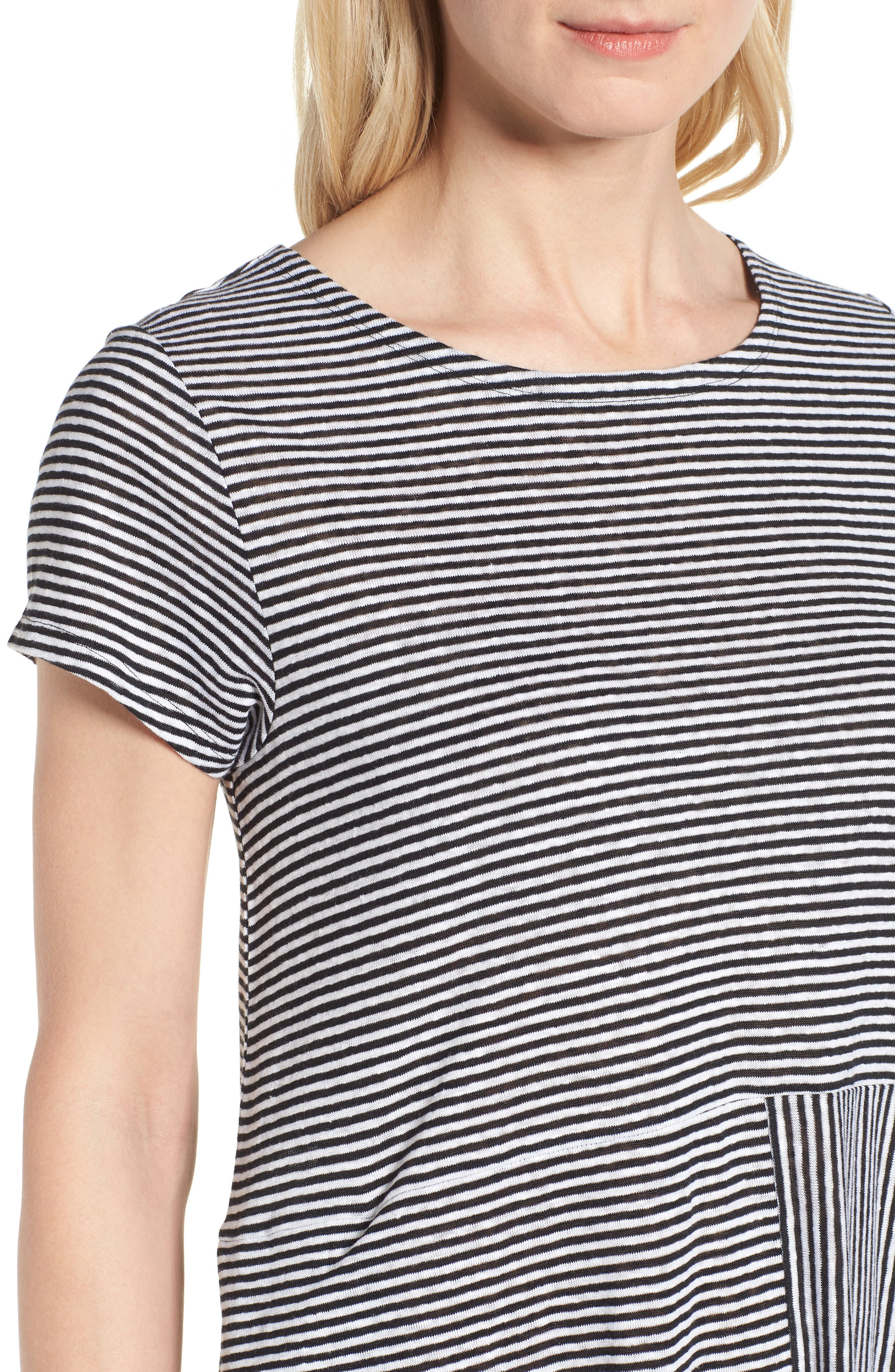 Stripe Organic Linen Jersey Shift Dress,                             Alternate thumbnail 4, color,                             Black/ White