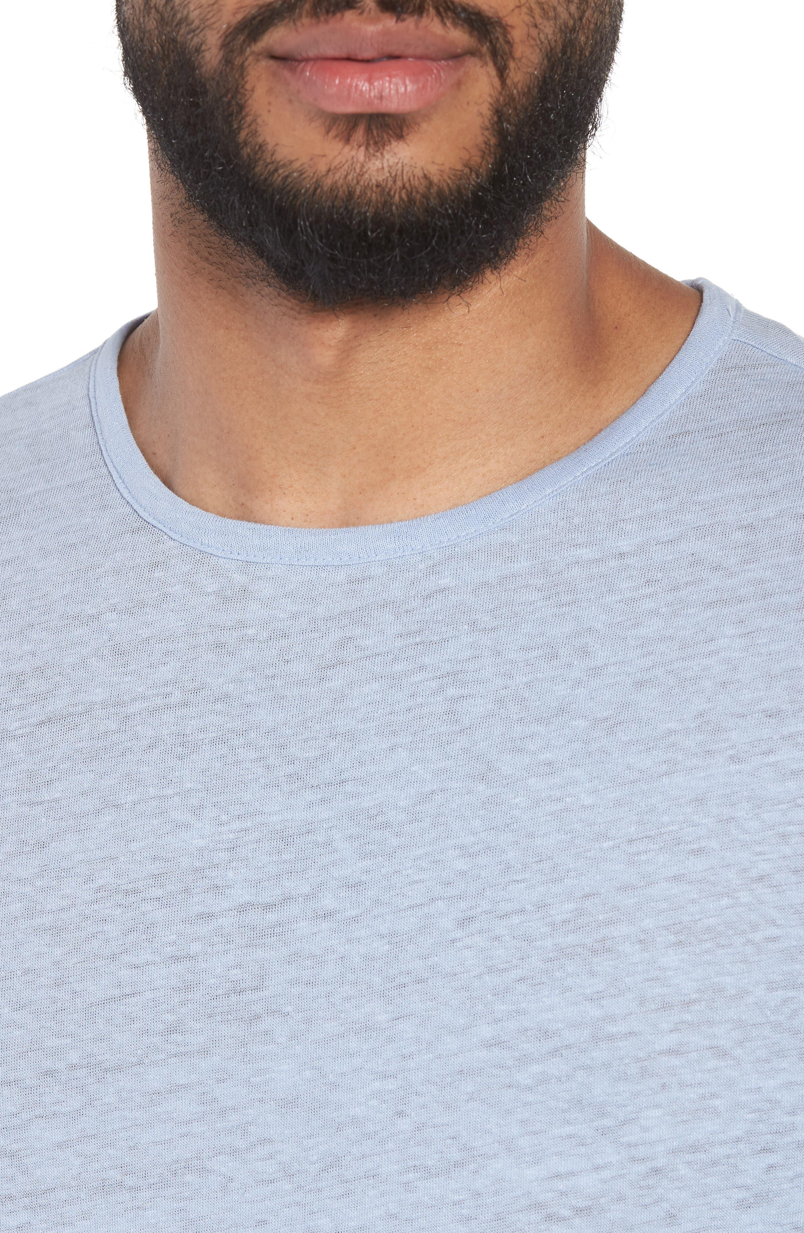 Raw Hem Linen & Cotton T-Shirt,                             Alternate thumbnail 4, color,                             Feather