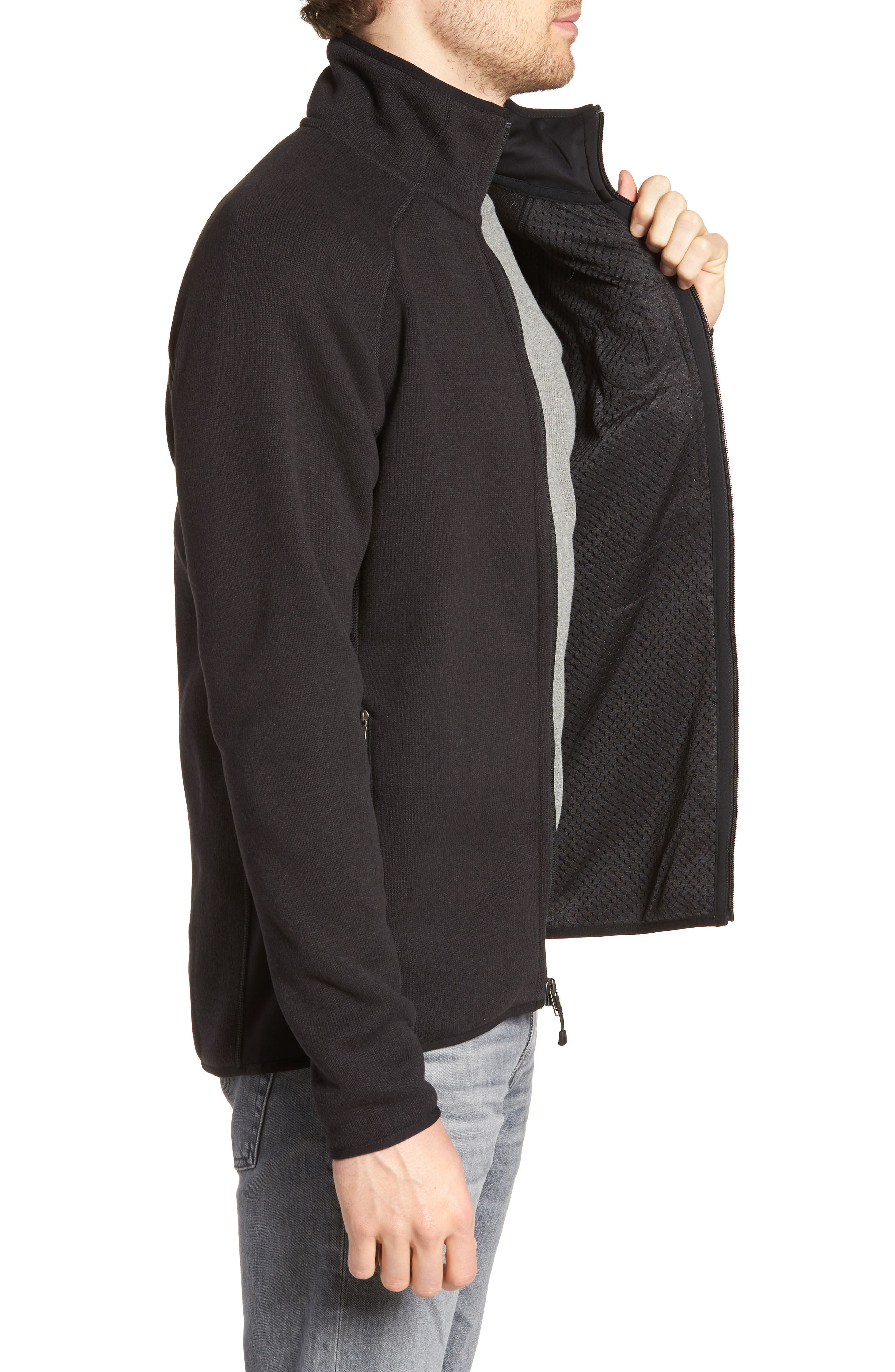 Better Sweater Zip Front Jacket,                             Alternate thumbnail 3, color,                             Blk