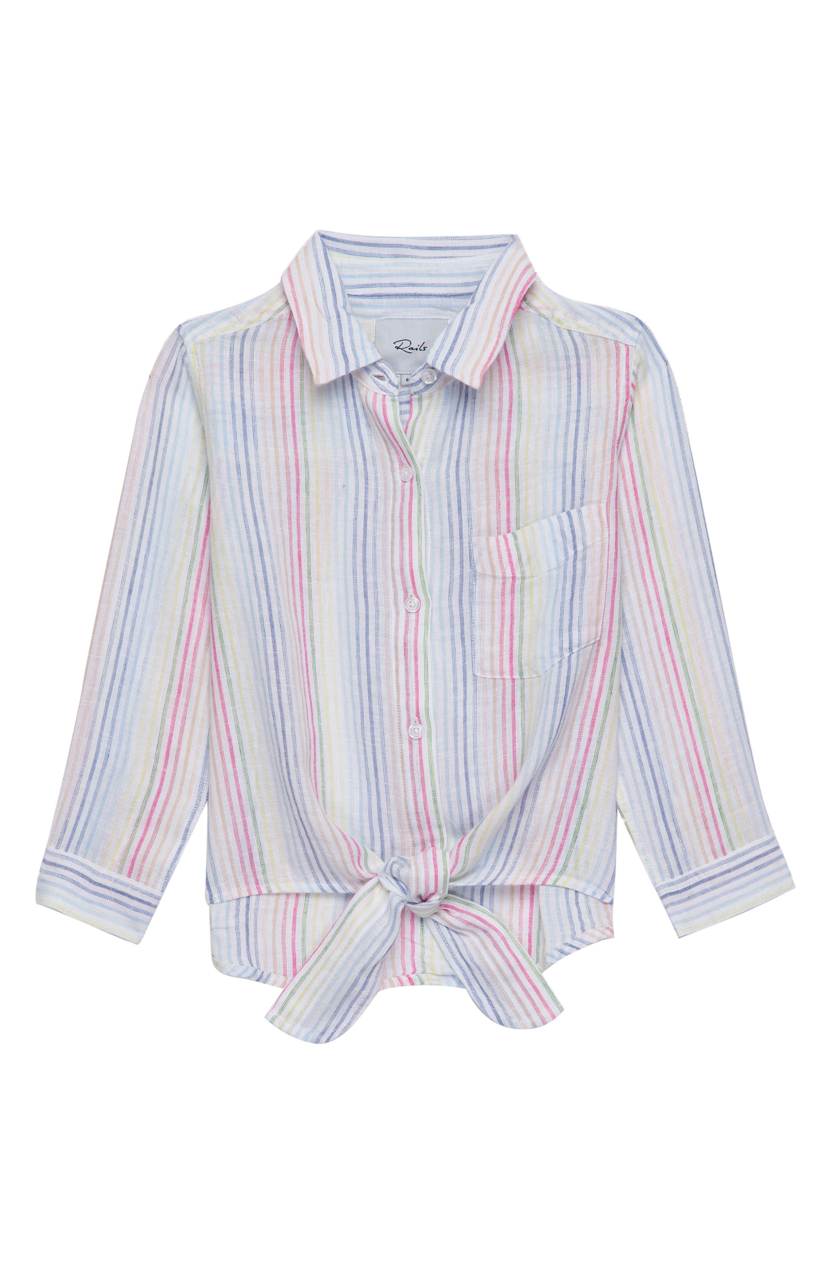 Valerie Stripe Tie Front Shirt,                         Main,                         color, Isla Stripe