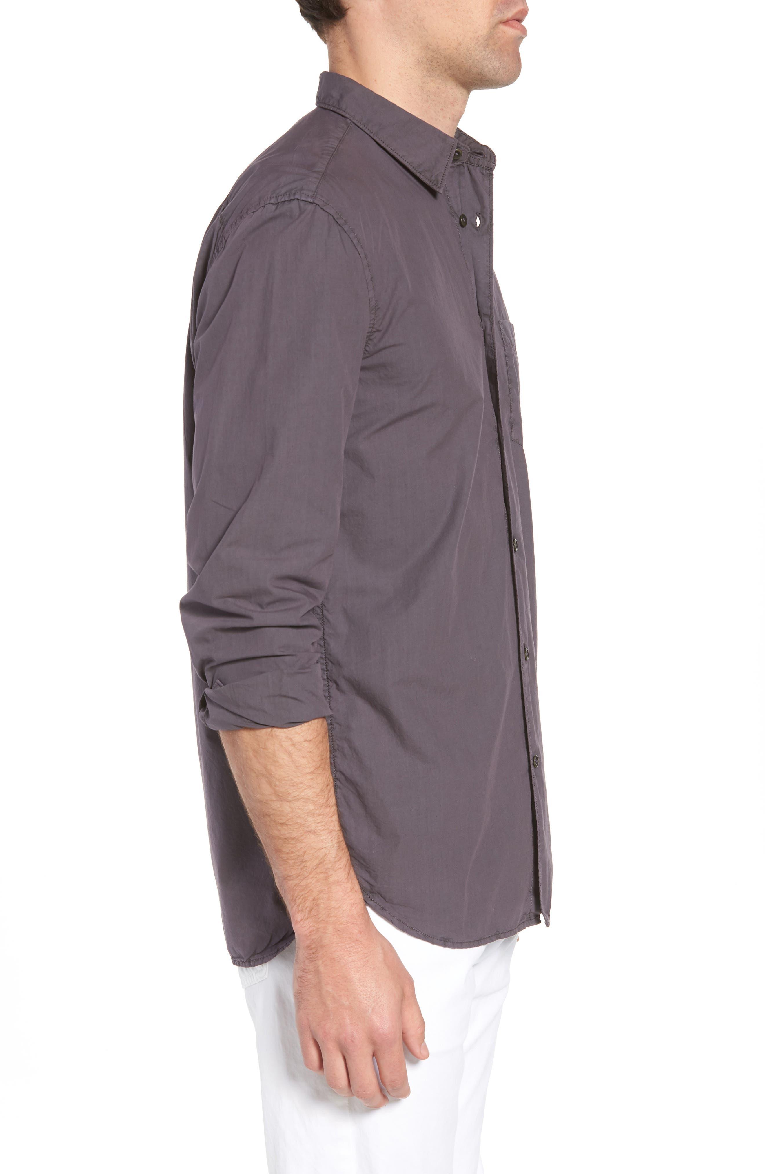 Regular Fit Poplin Sport Shirt,                             Alternate thumbnail 4, color,                             Workwear Grey