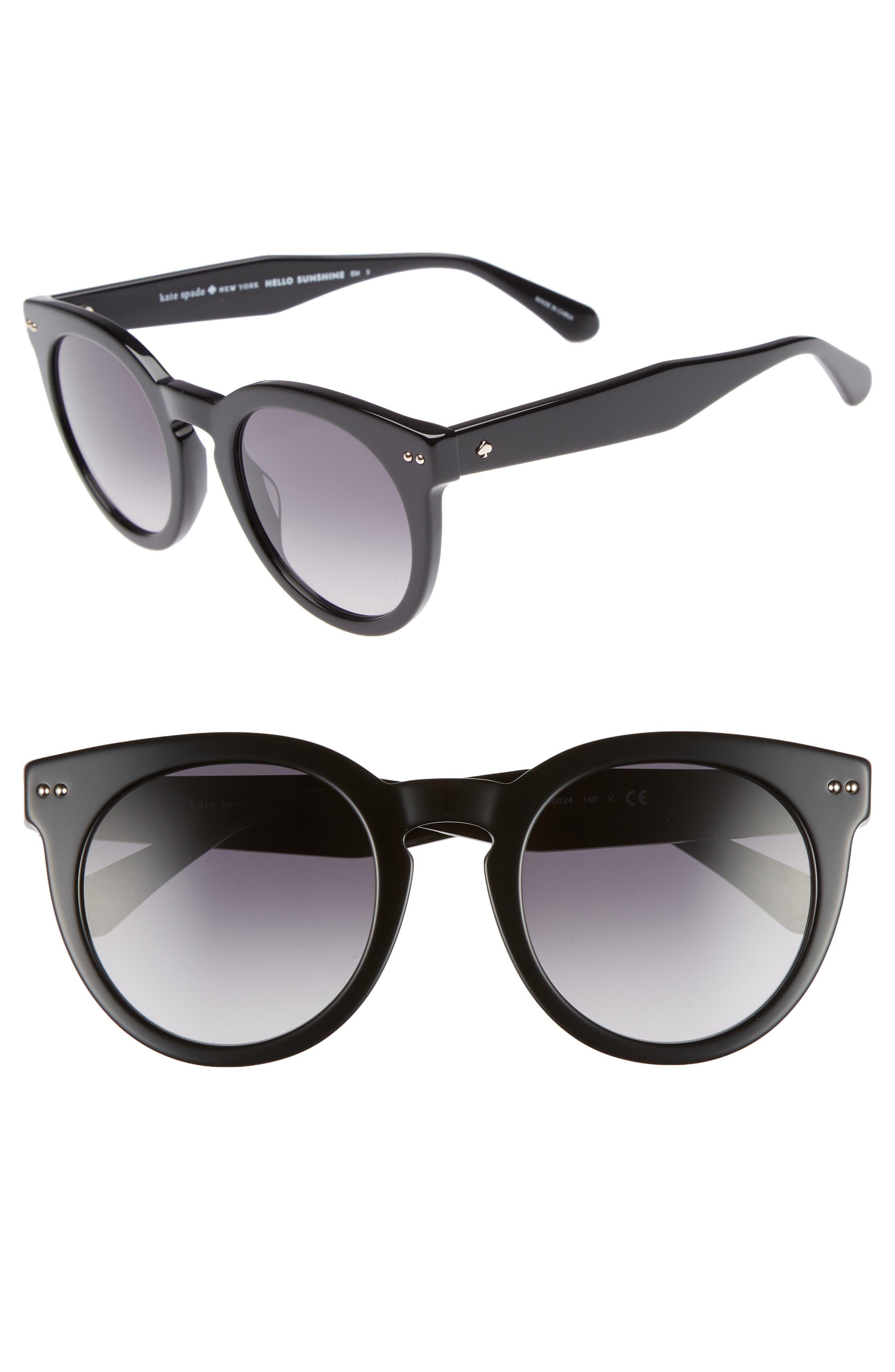 alexuss 50mm round sunglasses,                         Main,                         color, Black