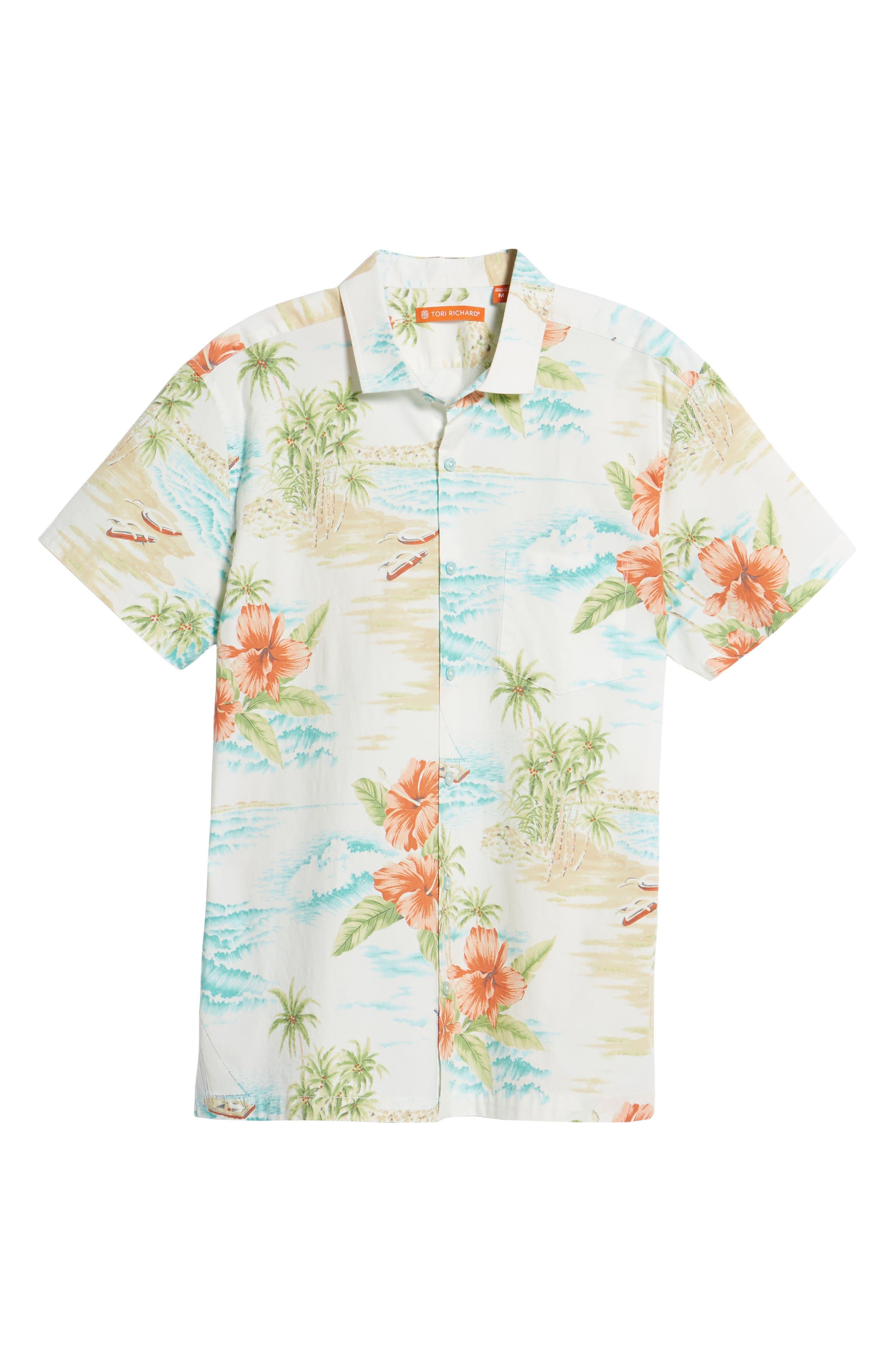 Rest Ashored Trim Fit Camp Shirt,                             Alternate thumbnail 6, color,                             White