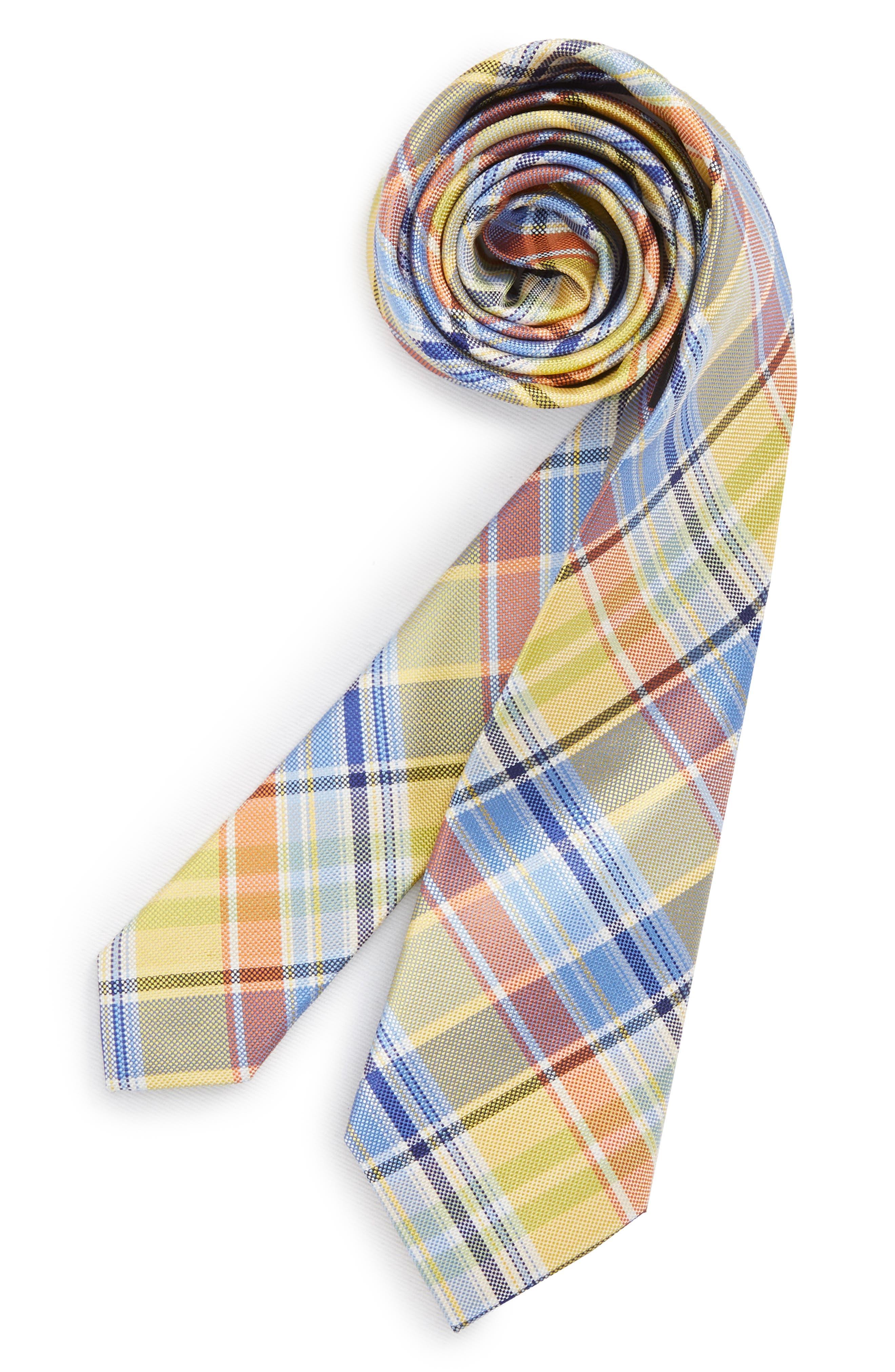 Madras Plaid Silk Tie,                         Main,                         color, 455
