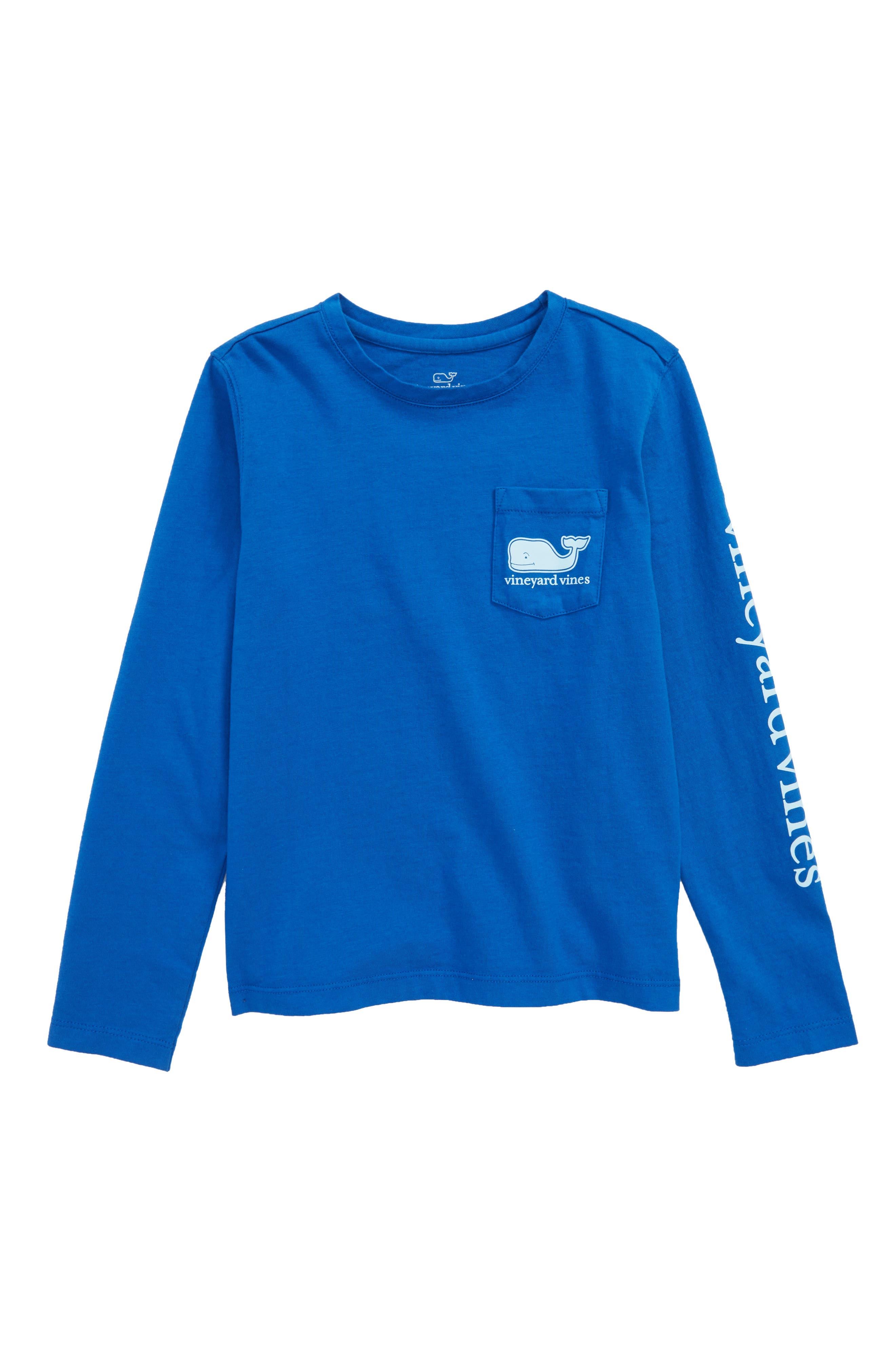 Whale Pocket Long Sleeve Tee,                         Main,                         color, Yacht Blue