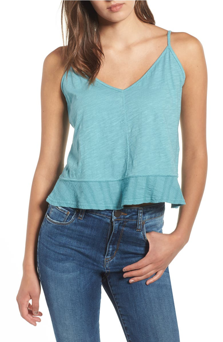 Flare Hem Tank Top, Main, color, Teal Meadow