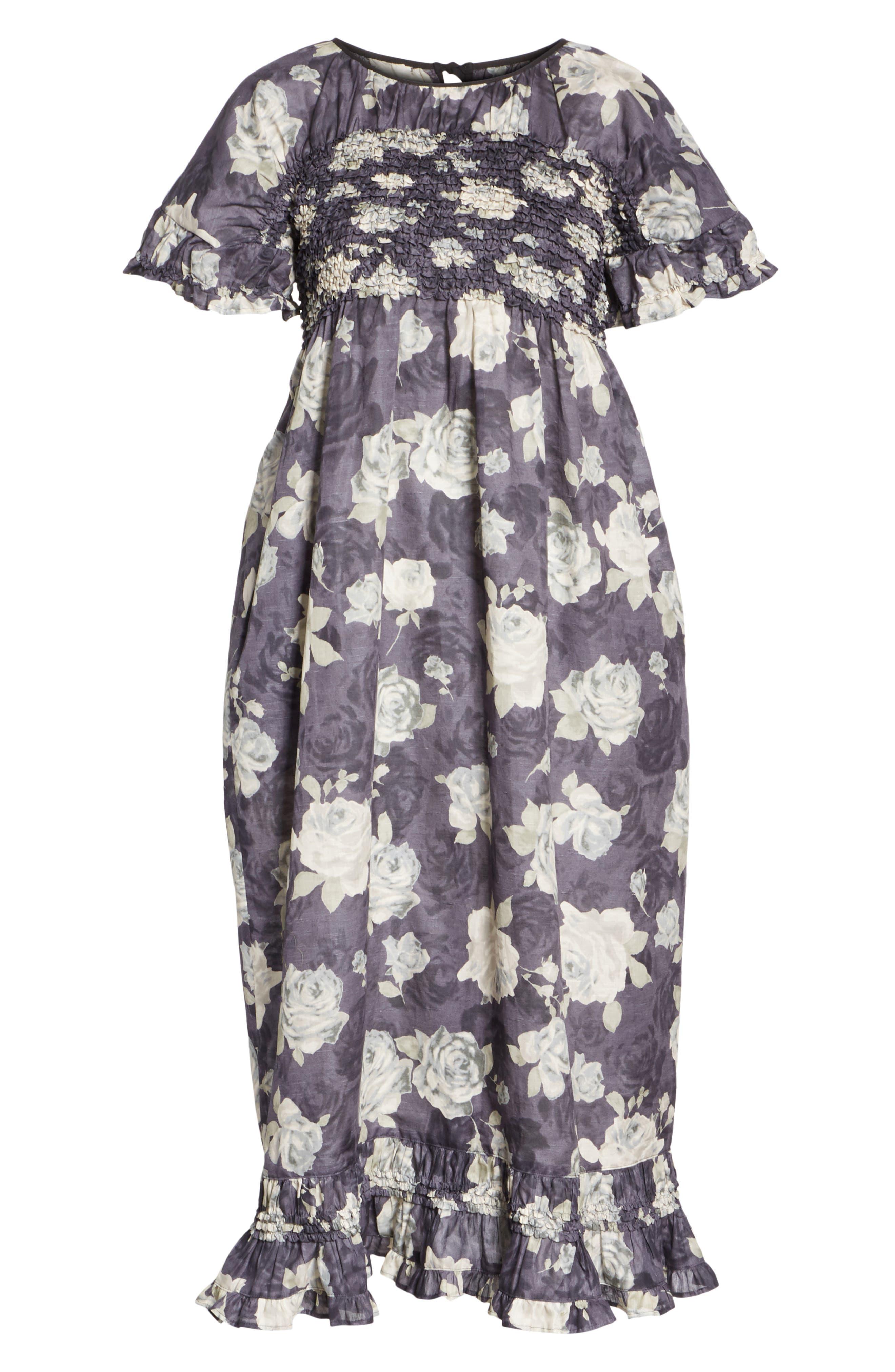 Rose Print Dress,                             Alternate thumbnail 7, color,                             Charcoal X Black