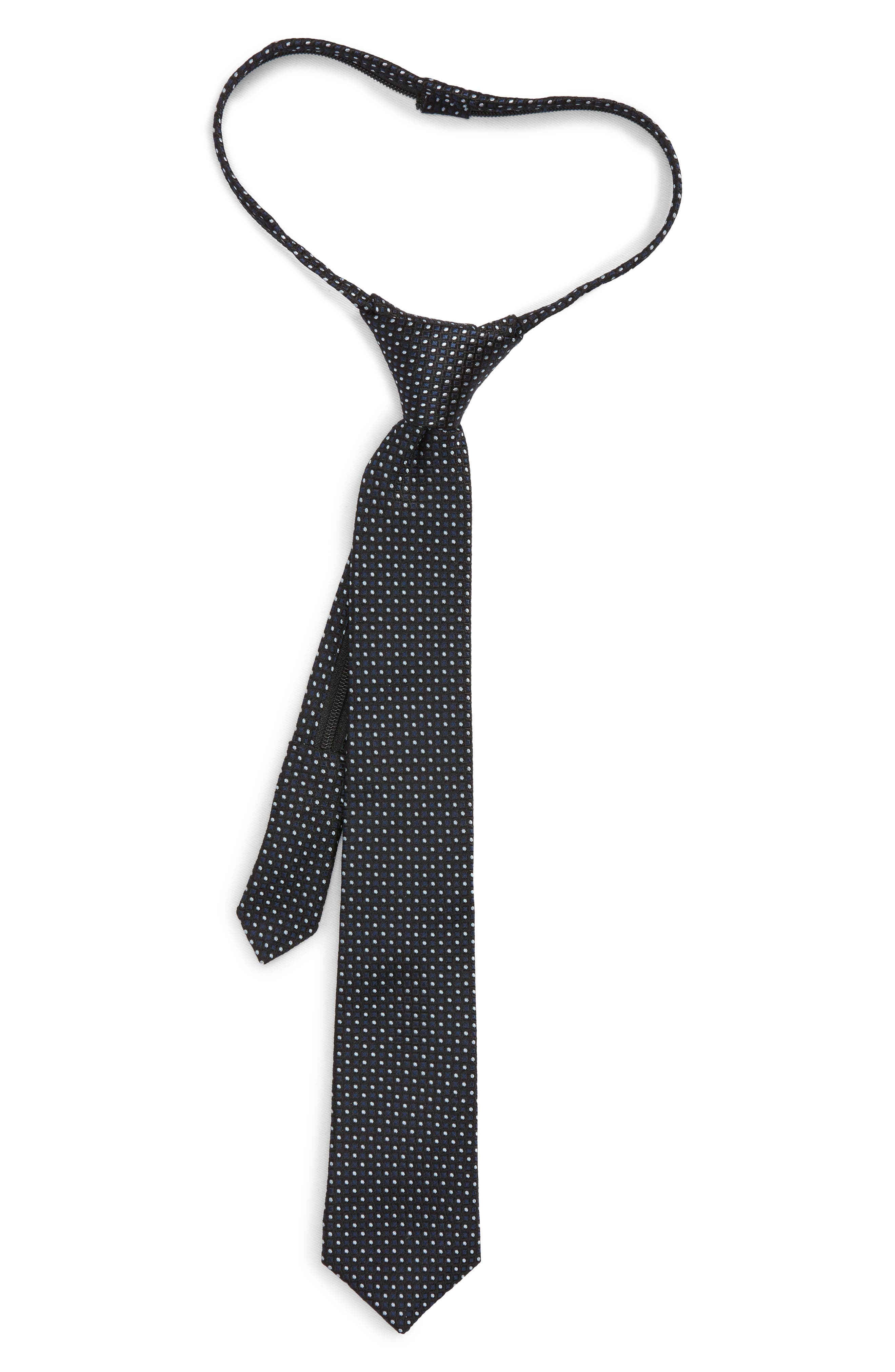 Nordstrom Dot Grid Silk Zip Tie (Big Boys)
