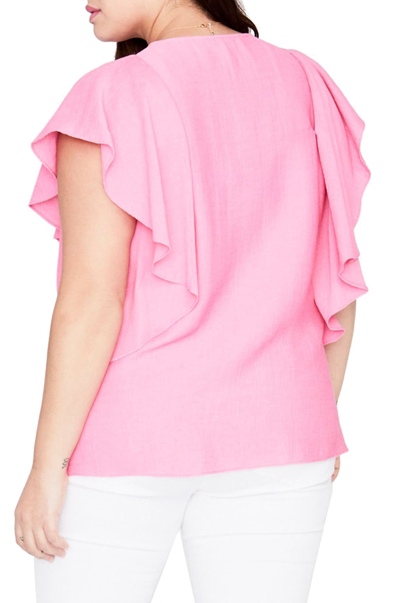 Flutter Sleeve Top,                             Alternate thumbnail 2, color,                             Cosmic Pink