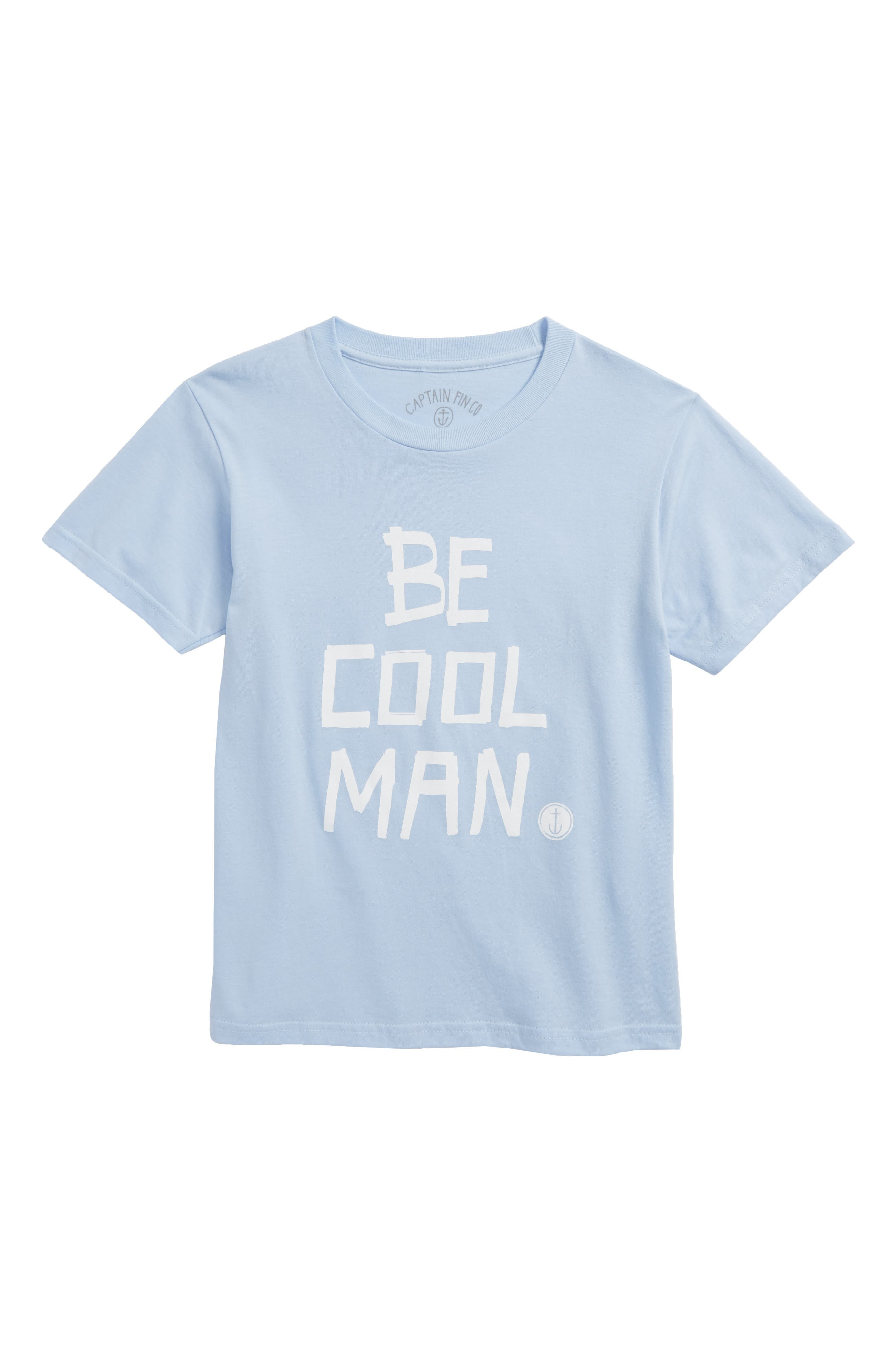 Captin Fin Be Cool Man Graphic T-Shirt,                             Main thumbnail 1, color,                             Sky Blue