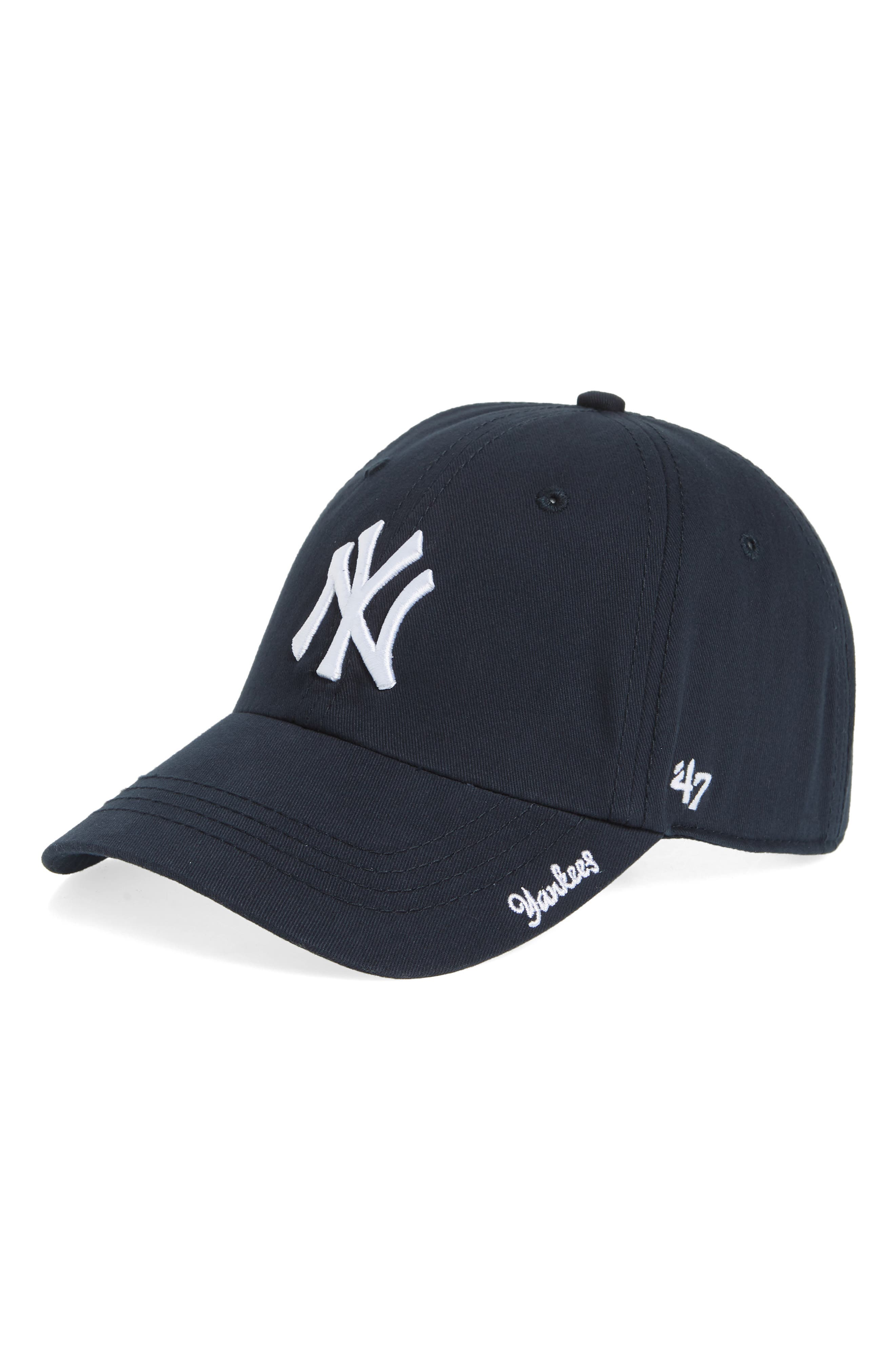 Miata Clean-Up New York Yankees Baseball Cap,                             Main thumbnail 1, color,                             Navy