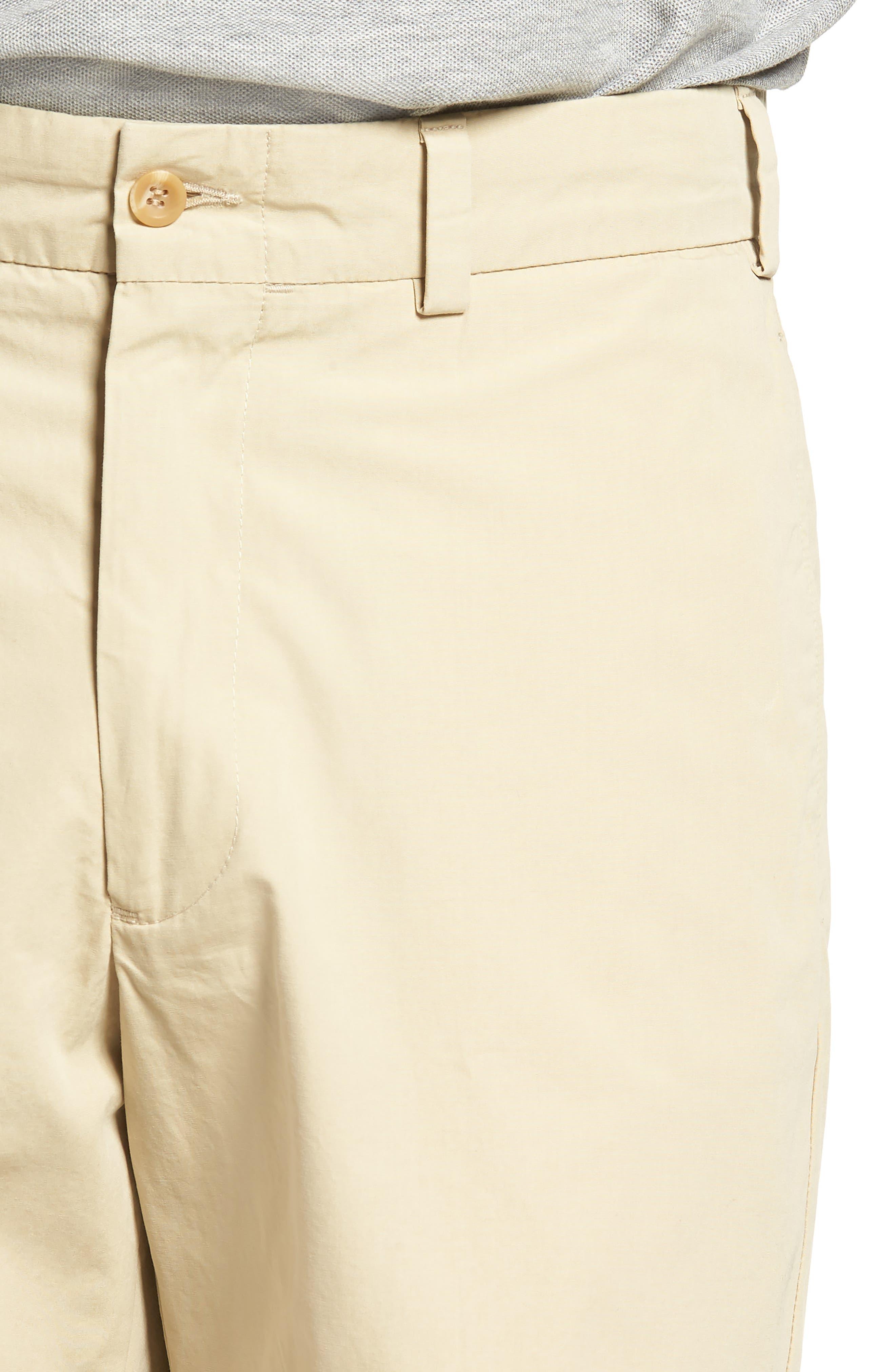 M2 Classic Fit Flat Front Tropical Cotton Poplin Shorts,                             Alternate thumbnail 4, color,                             Khaki