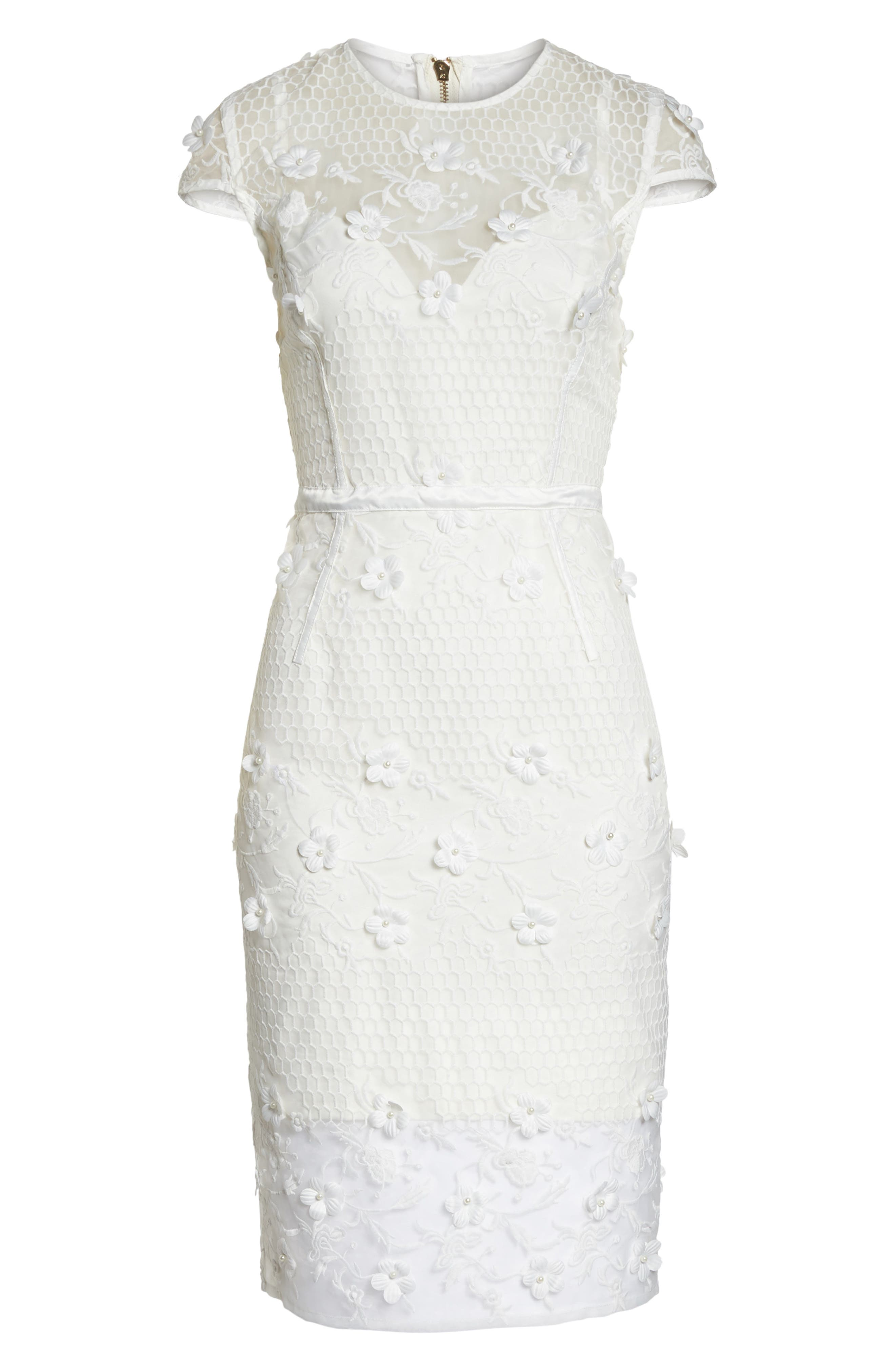 Osa Embroidered Cap Sleeve Organza Dress,                             Alternate thumbnail 6, color,                             White