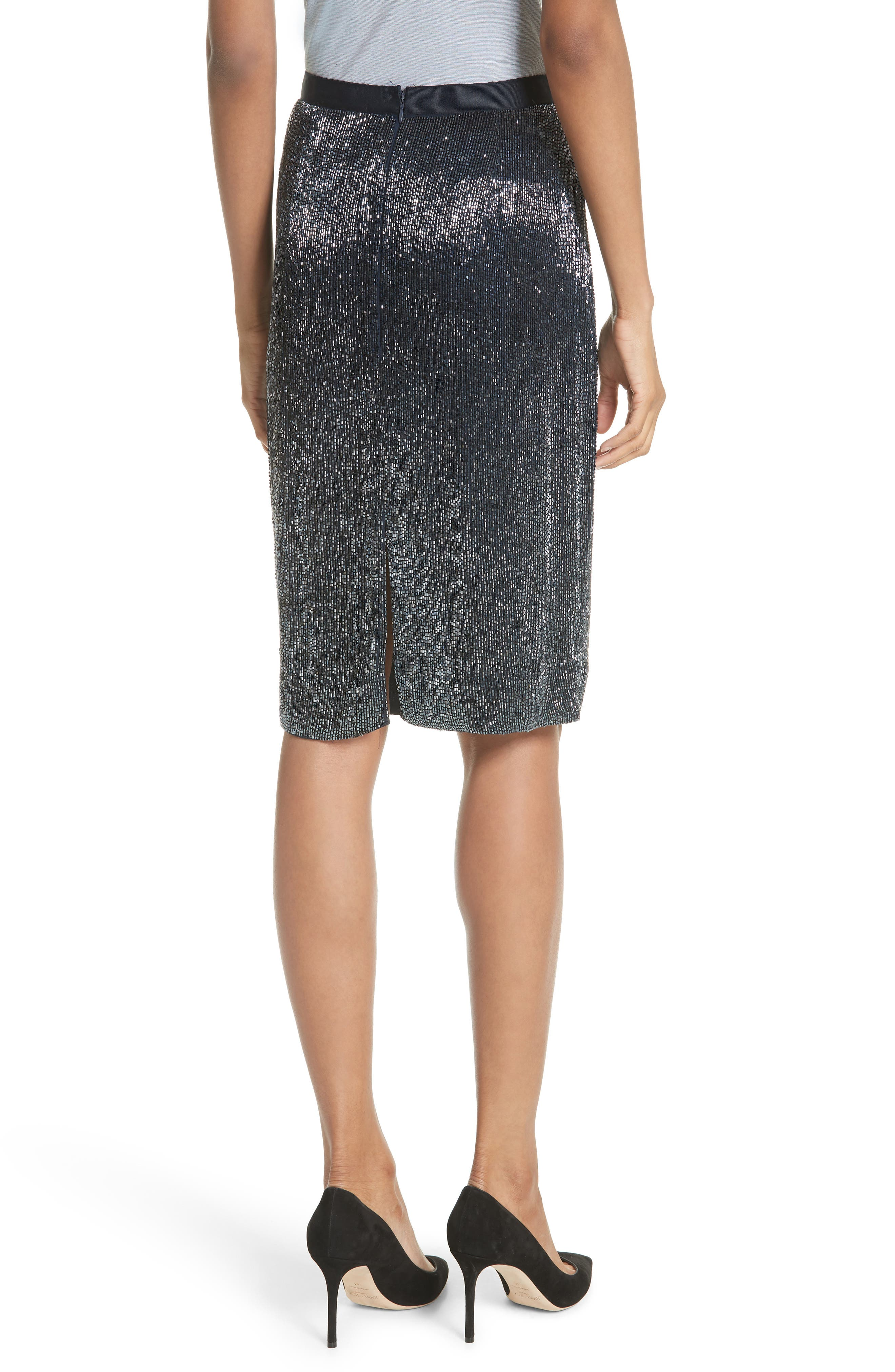 Edryce Beaded Pencil Skirt,                             Alternate thumbnail 2, color,                             Dark Navy