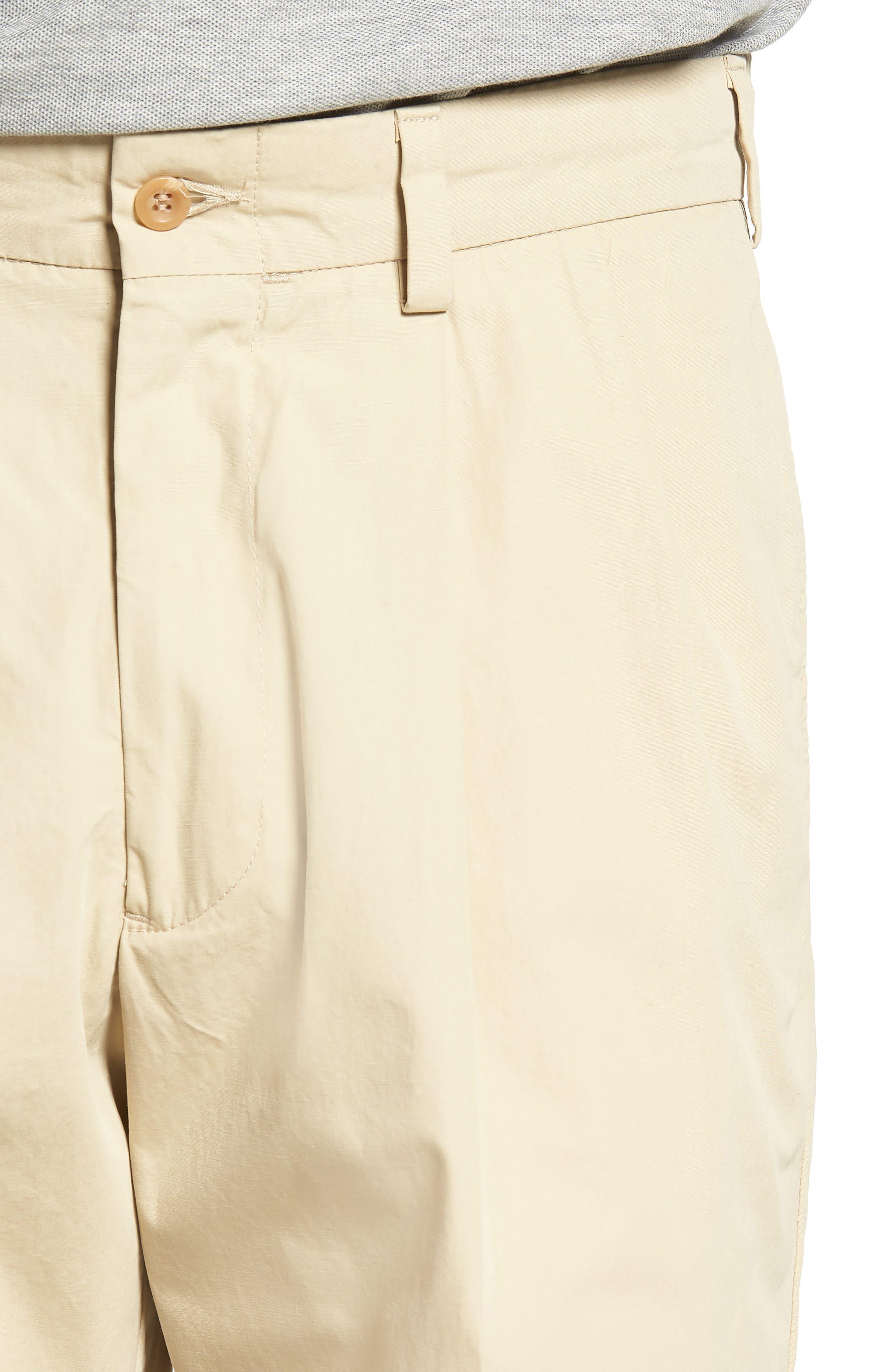M2 Classic Fit Pleated Tropical Cotton Poplin Shorts,                             Alternate thumbnail 4, color,                             Khaki