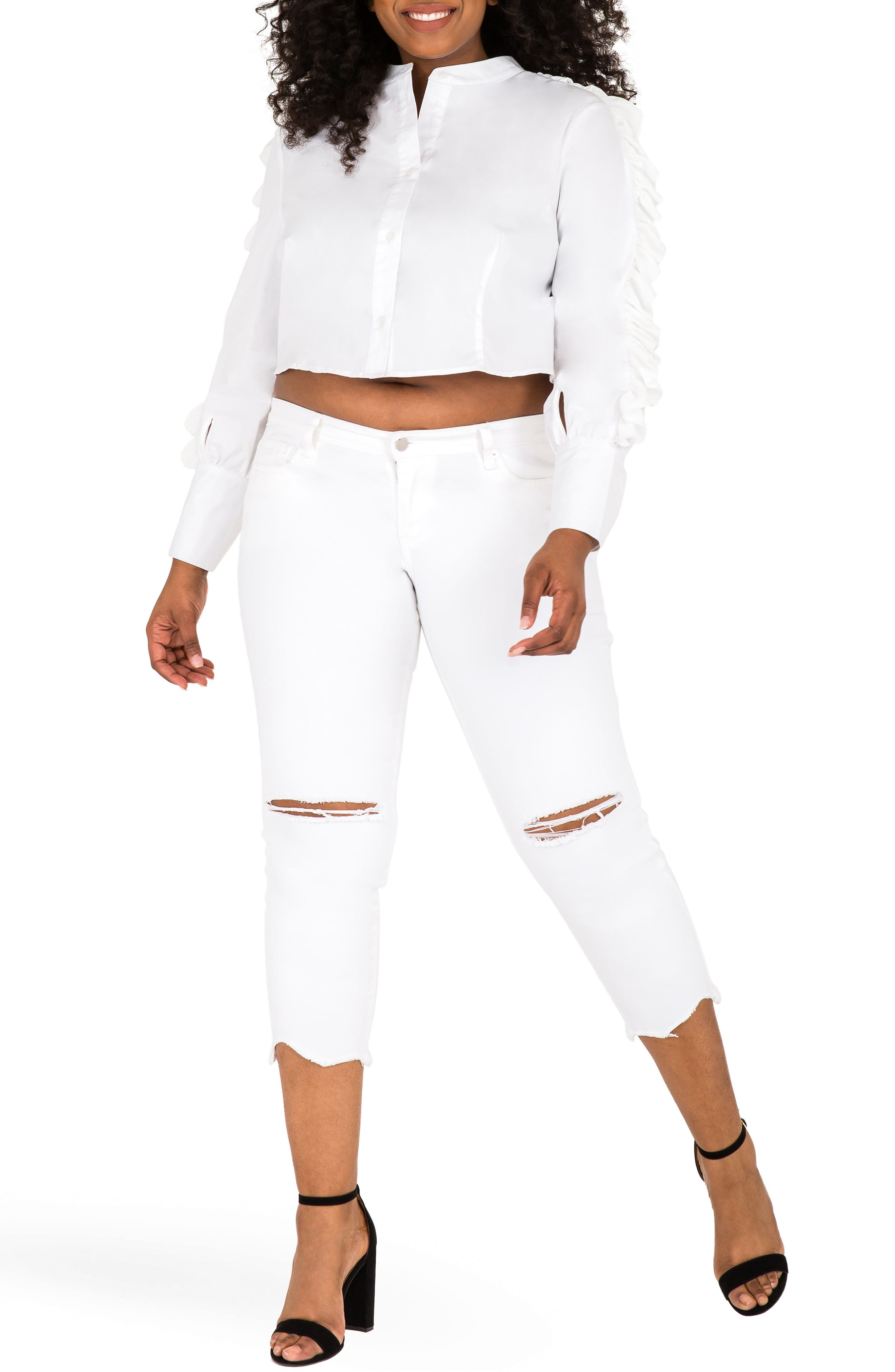Mayasia Ruffle Sleeve Crop Shirt,                             Alternate thumbnail 5, color,                             White
