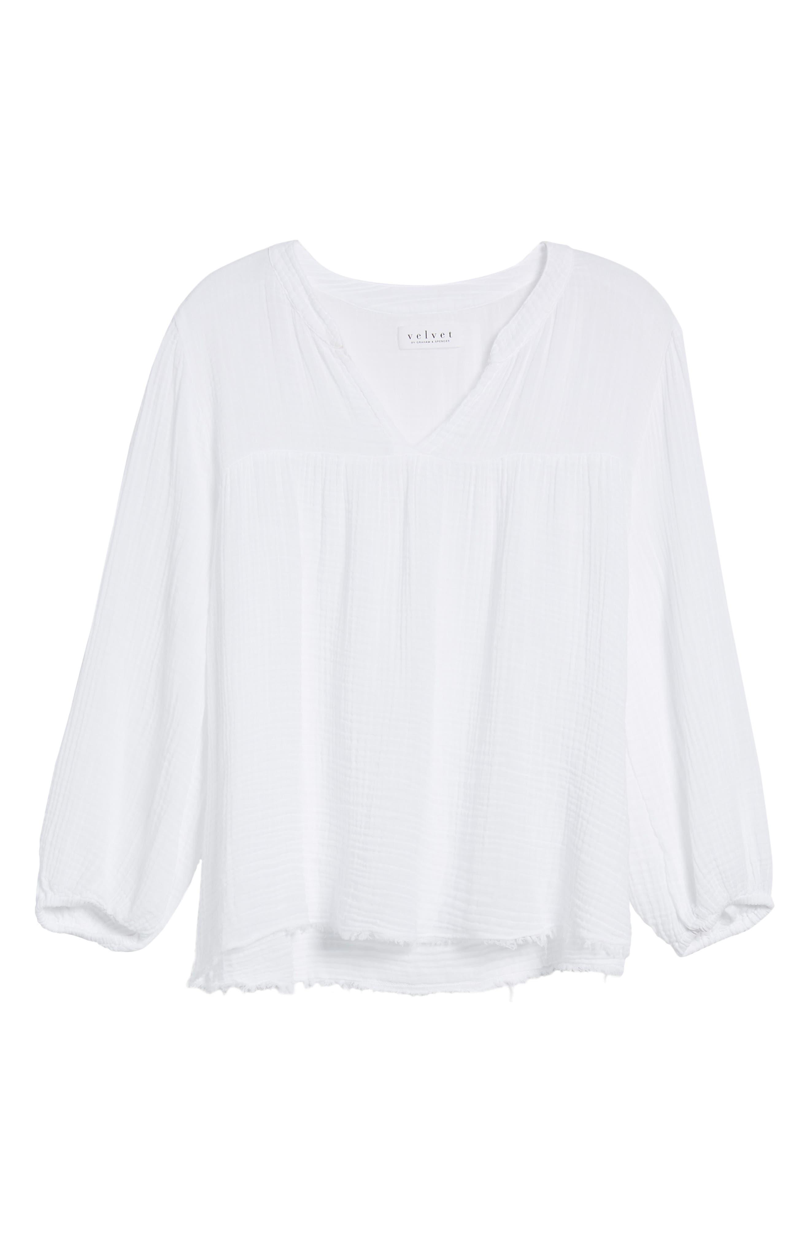 Cotton Gauze Peasant Top,                             Alternate thumbnail 7, color,                             White