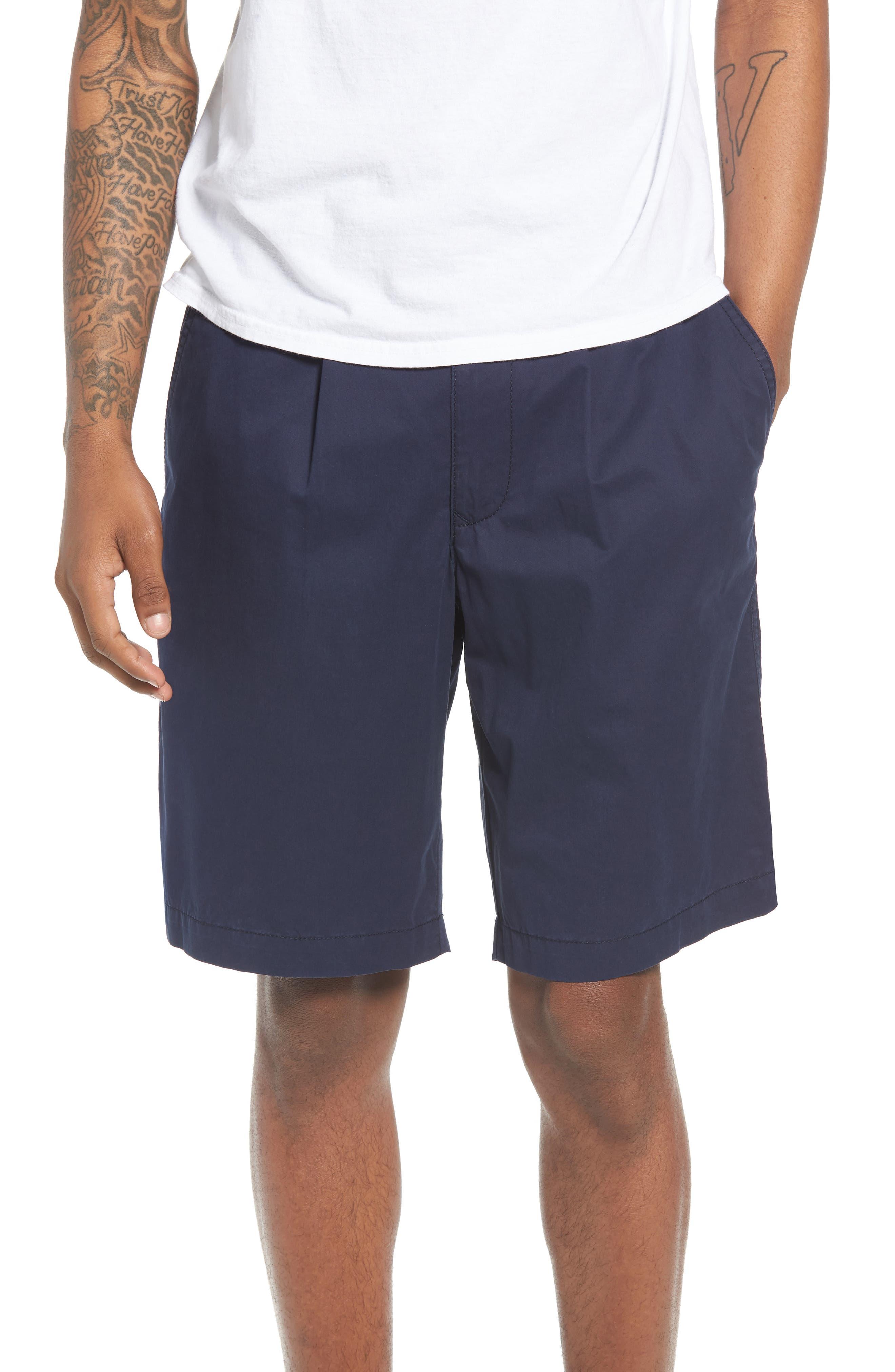 Pleated Chino Shorts,                             Main thumbnail 1, color,                             Navy Peacoat