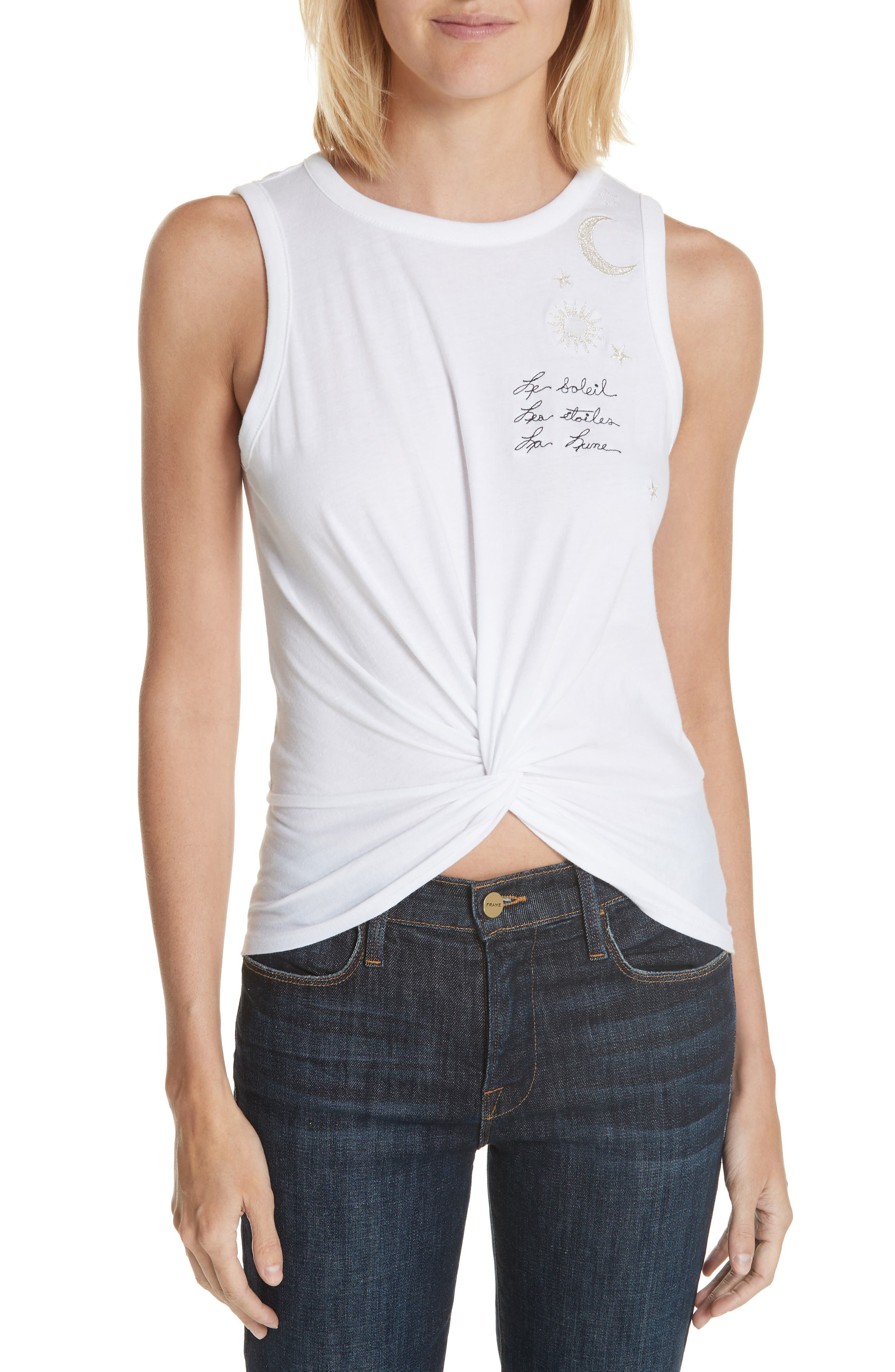 Knot Front Embroidered Tank,                         Main,                         color, White