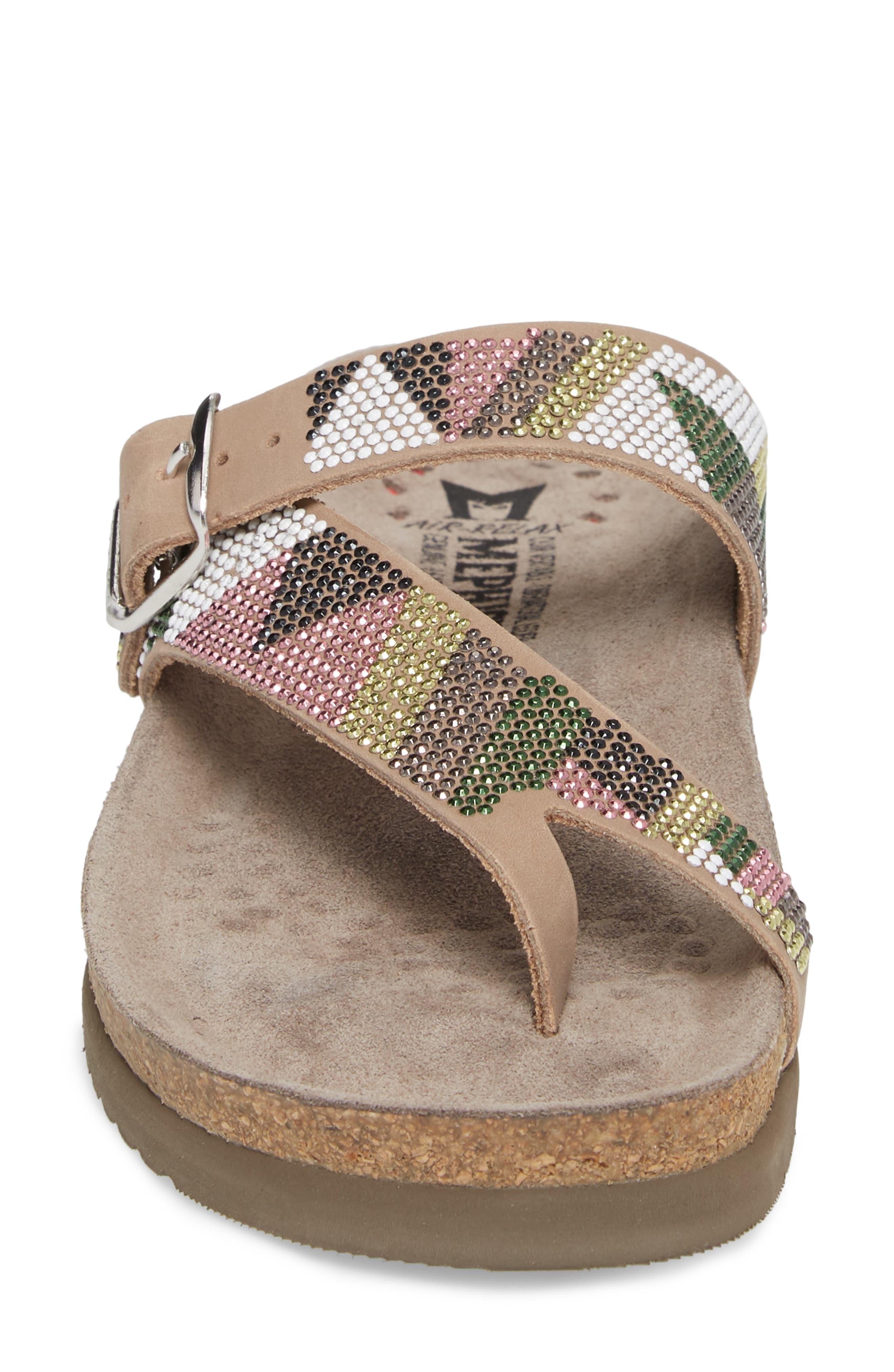 Helen Slide Sandal,                             Alternate thumbnail 4, color,                             Taupe/ Green/ Pink
