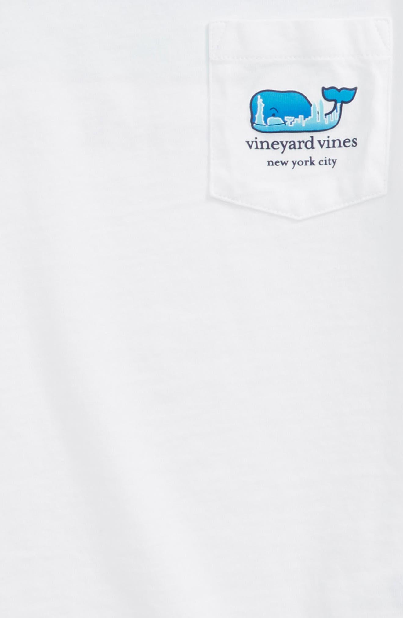 New York City Whale Pocket T-Shirt,                             Alternate thumbnail 3, color,                             White Cap