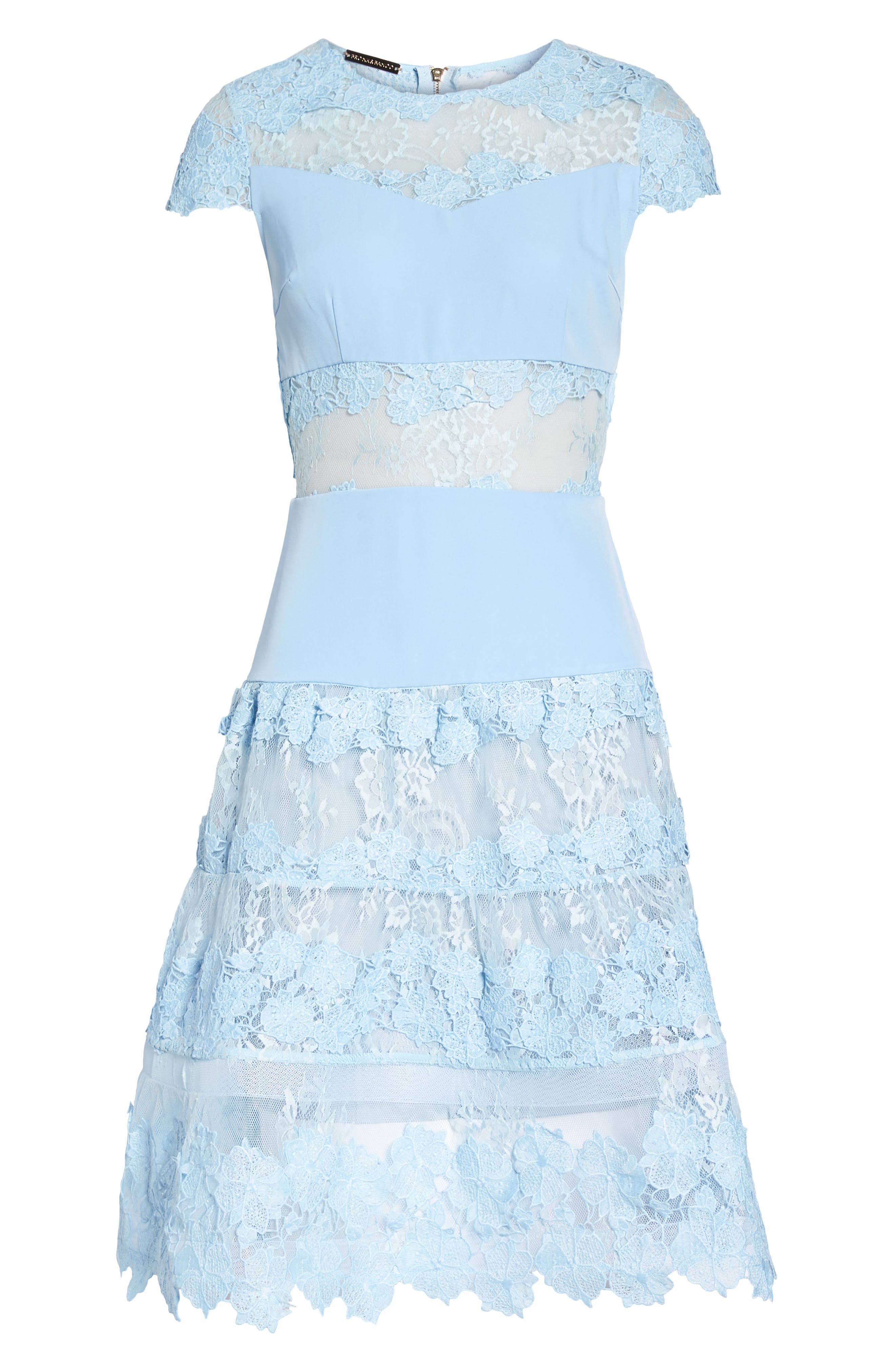 Flamenco Lace Fit & Flare Dress,                             Alternate thumbnail 6, color,                             Blue