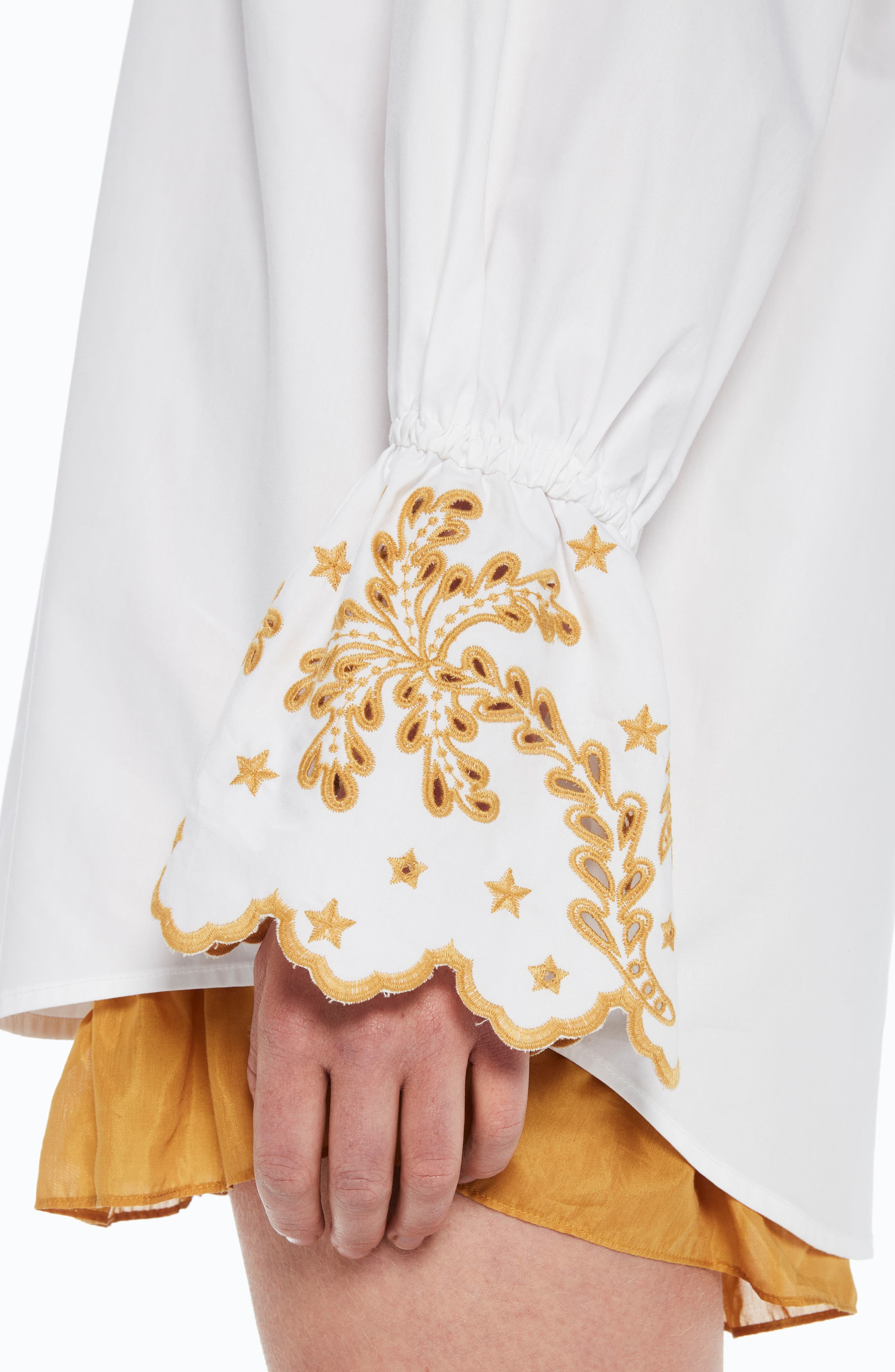 Oversize Button Front Shirt,                             Alternate thumbnail 4, color,                             Color 06 White