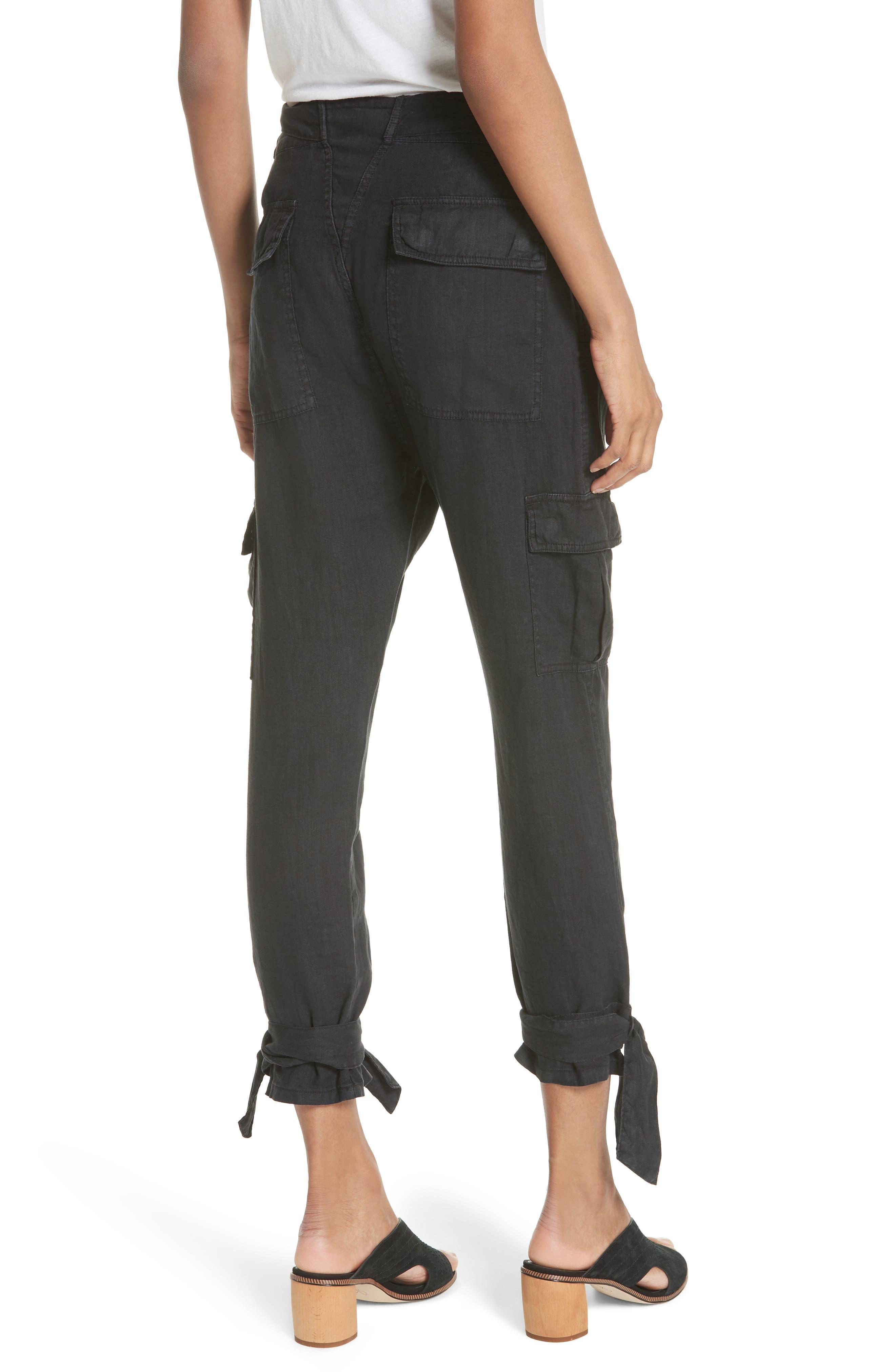 Erlette Linen Tie Cuff Crop Pants,                             Alternate thumbnail 2, color,                             Caviar