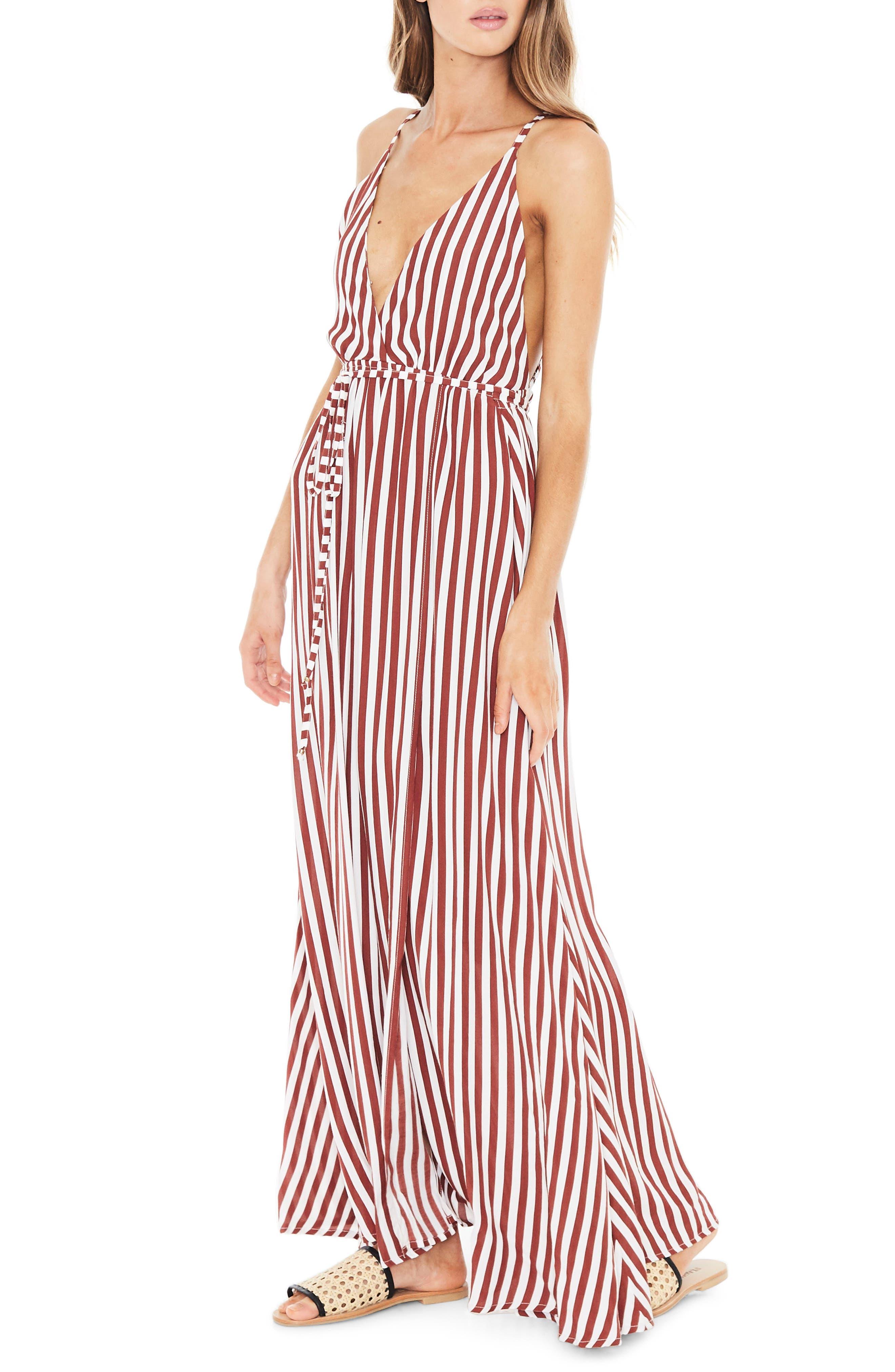 Santa Rosa Maxi Dress,                             Alternate thumbnail 3, color,                             Zeus Stripe Prints - Maroon