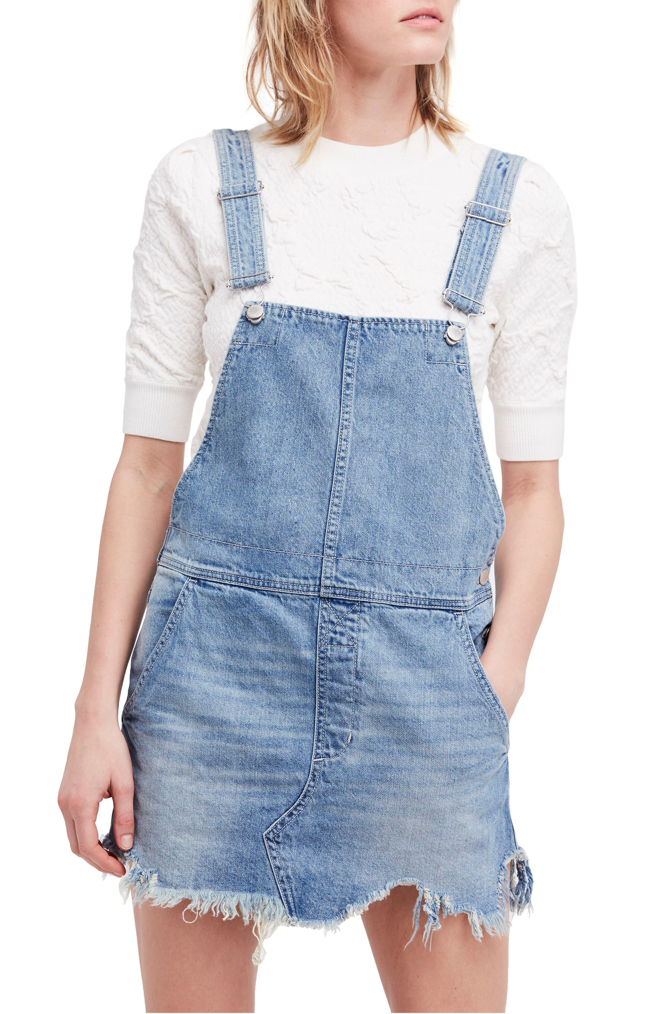 Torn-Up Skirt Overalls,                         Main,                         color, Blue