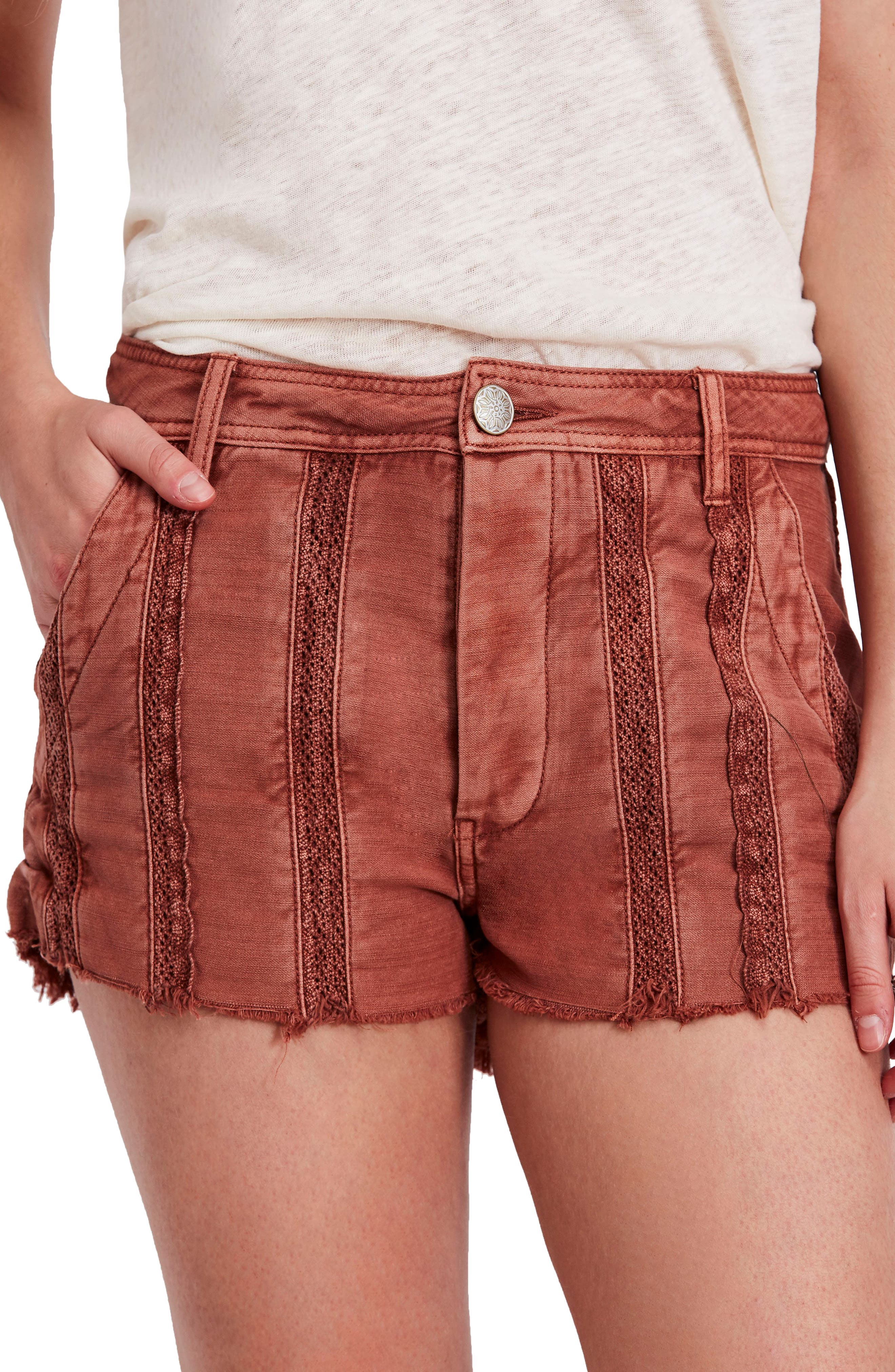 Great Expectations Lace Cutout Shorts,                             Main thumbnail 1, color,                             Peach