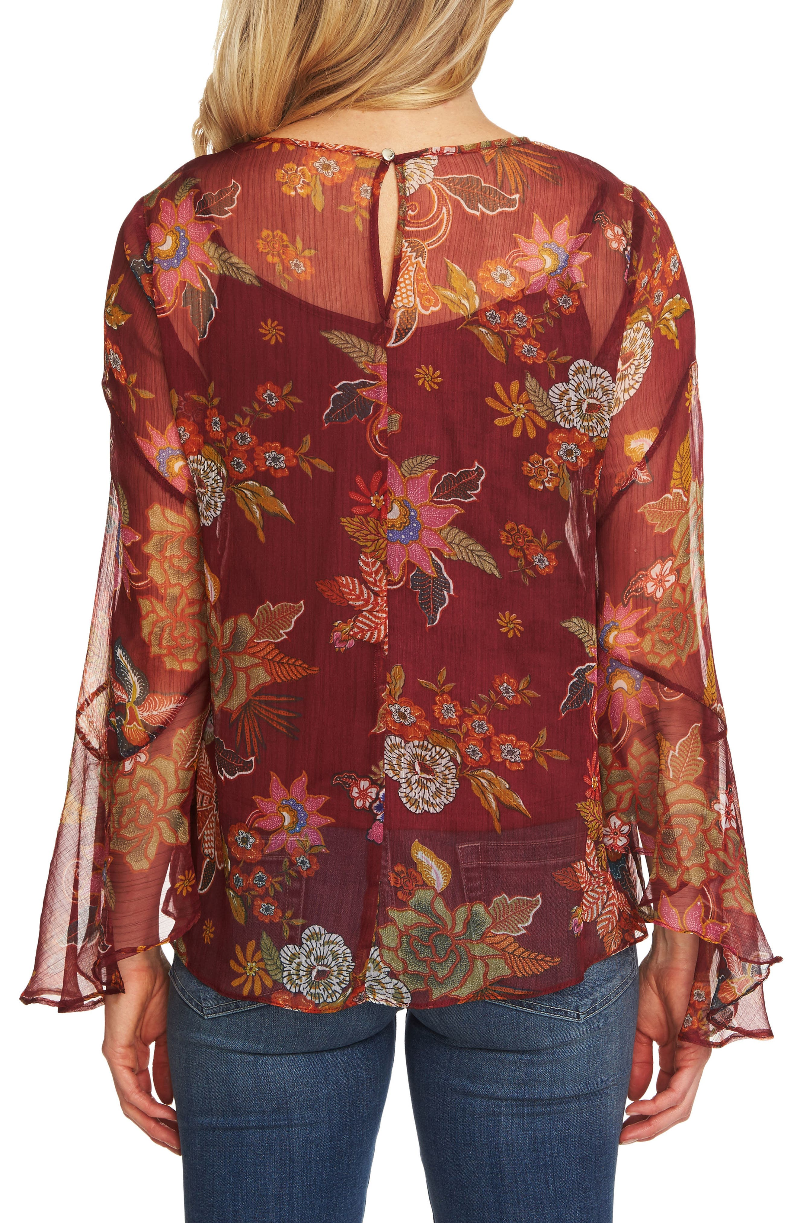 Flared Sleeve Floral Top,                             Alternate thumbnail 2, color,                             Dahlia Red
