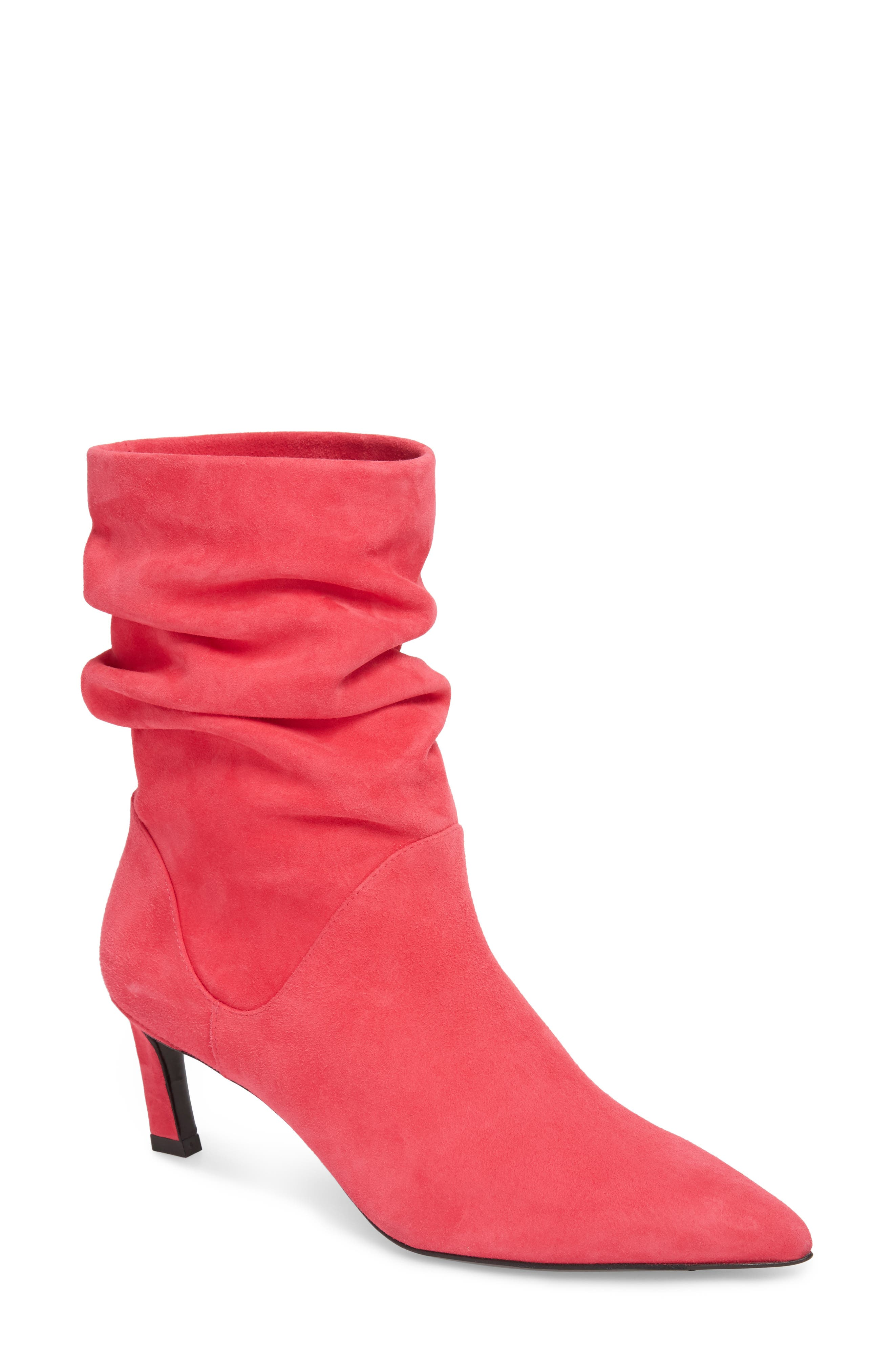 Demibenatar Slouch Bootie,                             Main thumbnail 1, color,                             Coral Luxe Suede