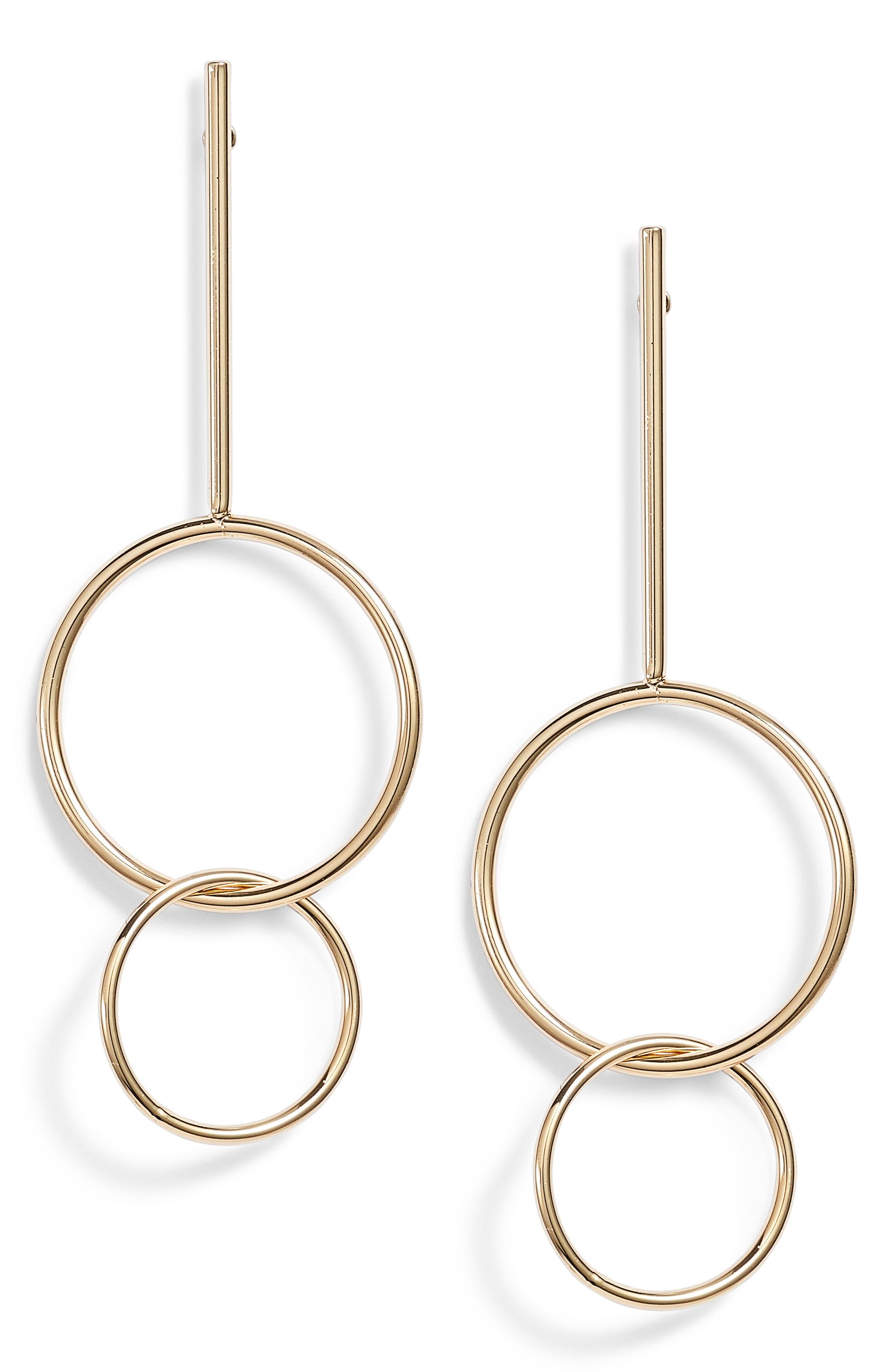 Orbit Ring Linear Earrings,                             Main thumbnail 1, color,                             Gold