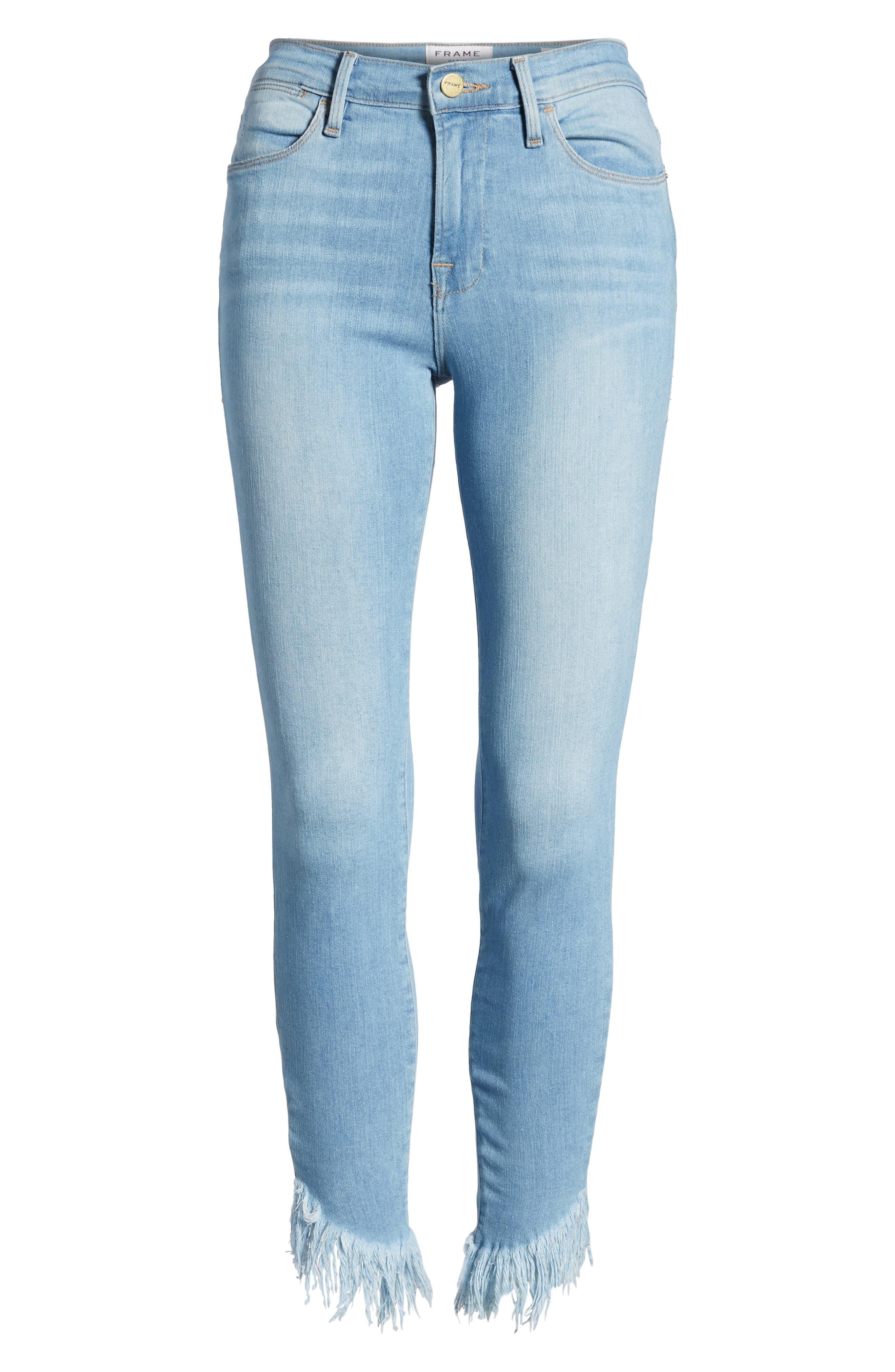Le High Shredded Hem Skinny Jeans,                             Alternate thumbnail 7, color,                             Eling