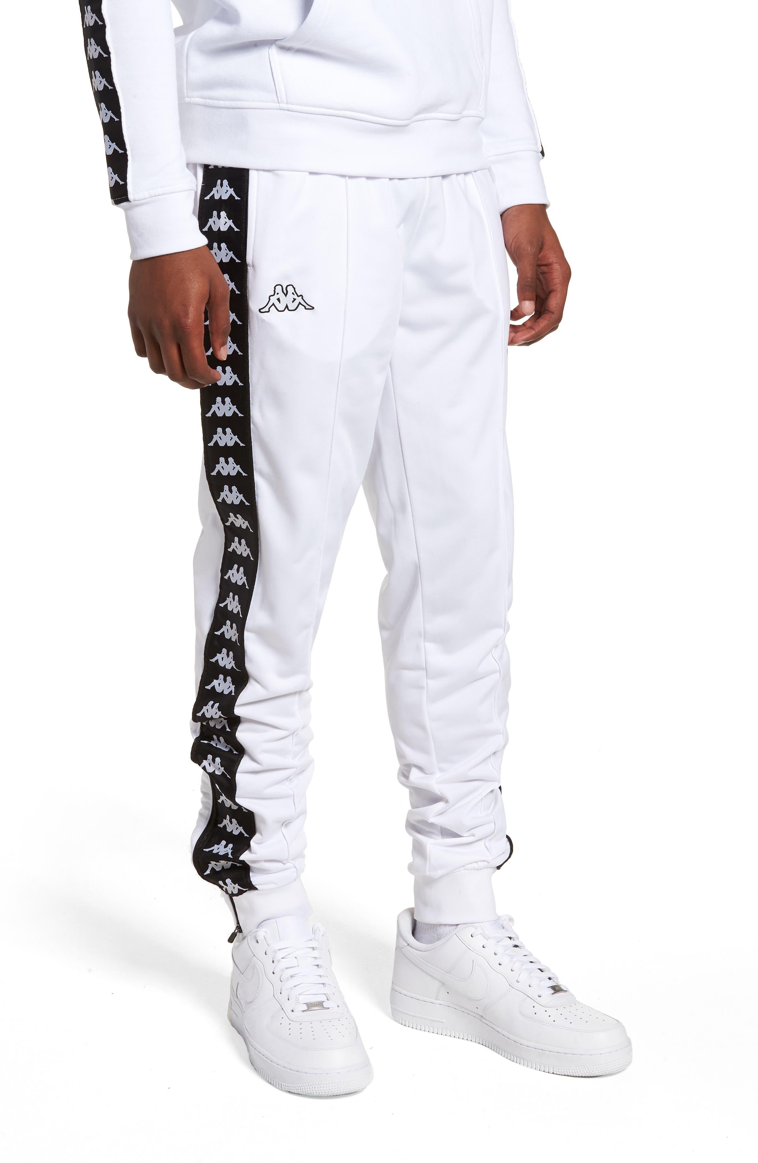 Active Banded Track Pants,                             Main thumbnail 1, color,                             White/ Black