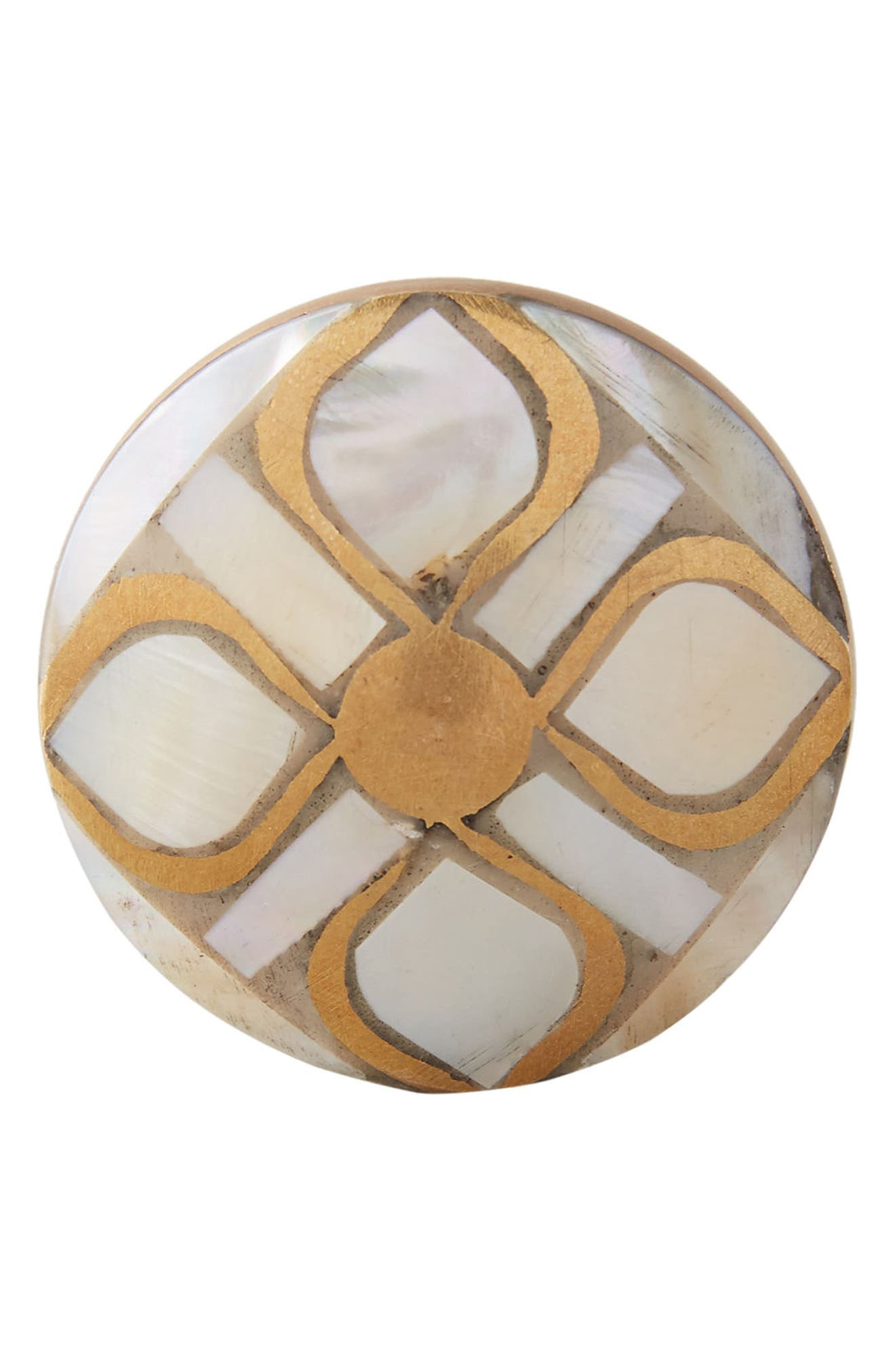 Serpentine Mother of Pearl Knob,                             Alternate thumbnail 3, color,                             Neutral