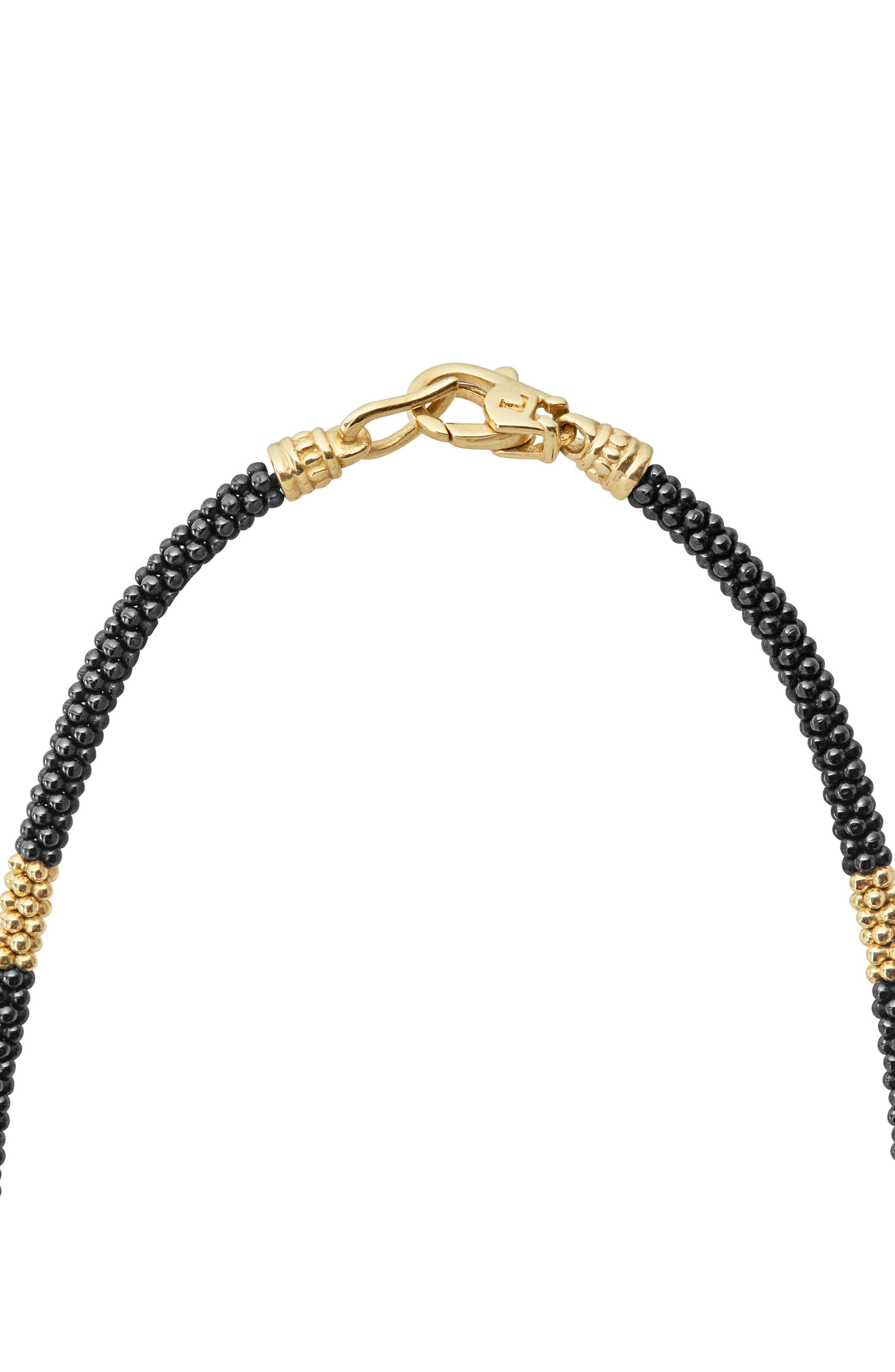 Gold & Black Caviar Rope Necklace,                             Alternate thumbnail 4, color,                             Gold
